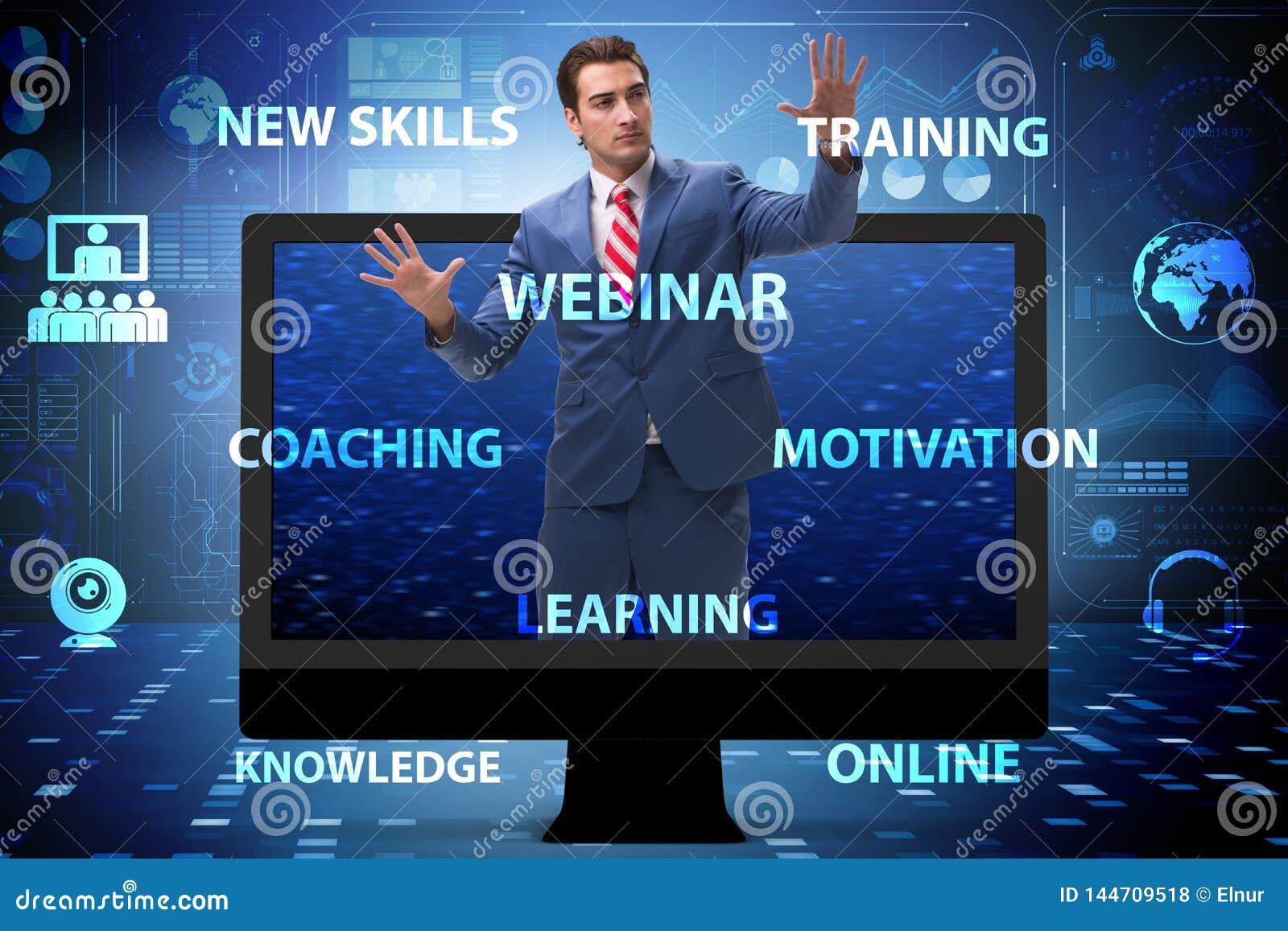 L homme d affaires dans le concept webinar en ligne