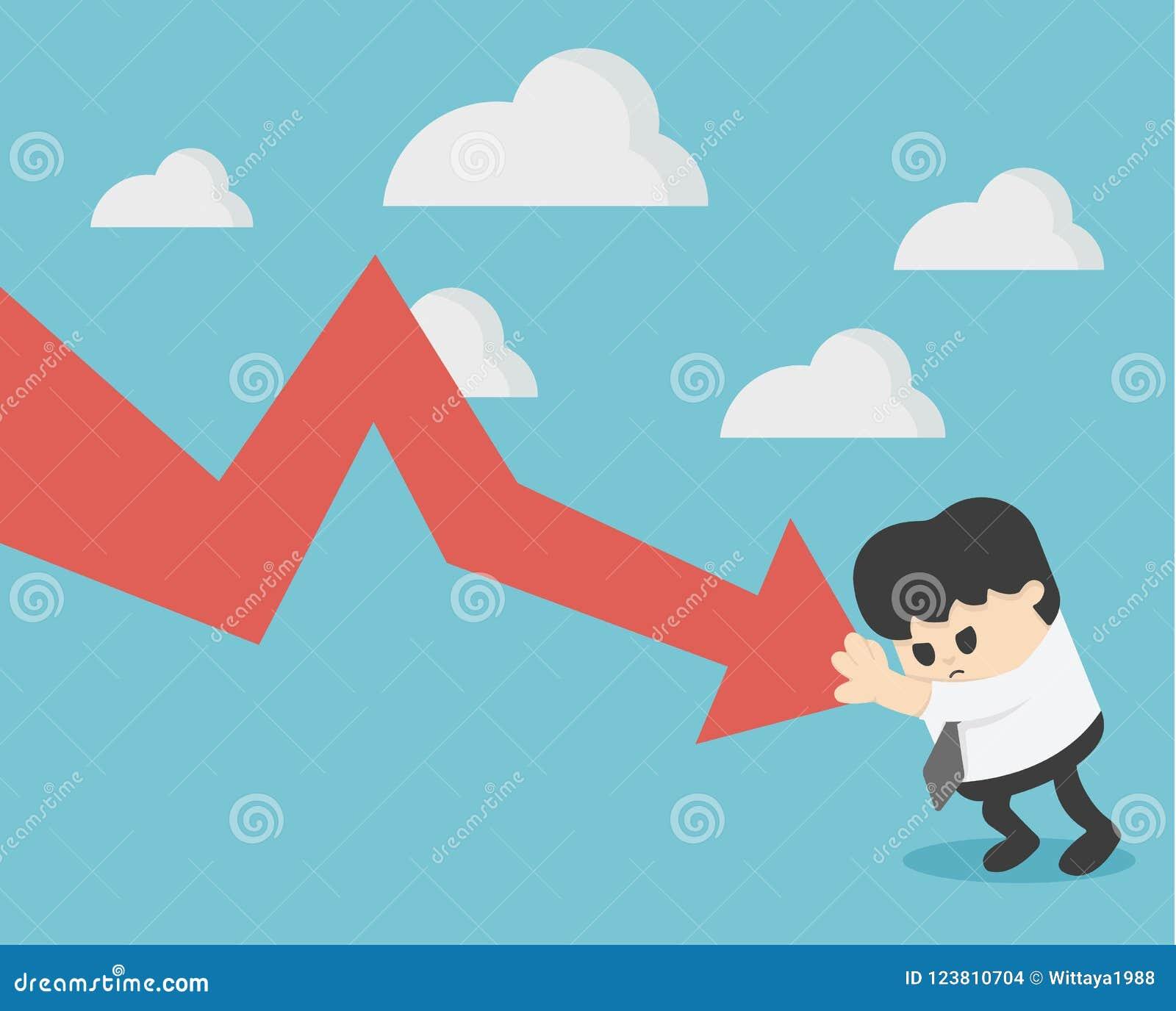 L homme d affaires empêchent le graphique de flèche descendant