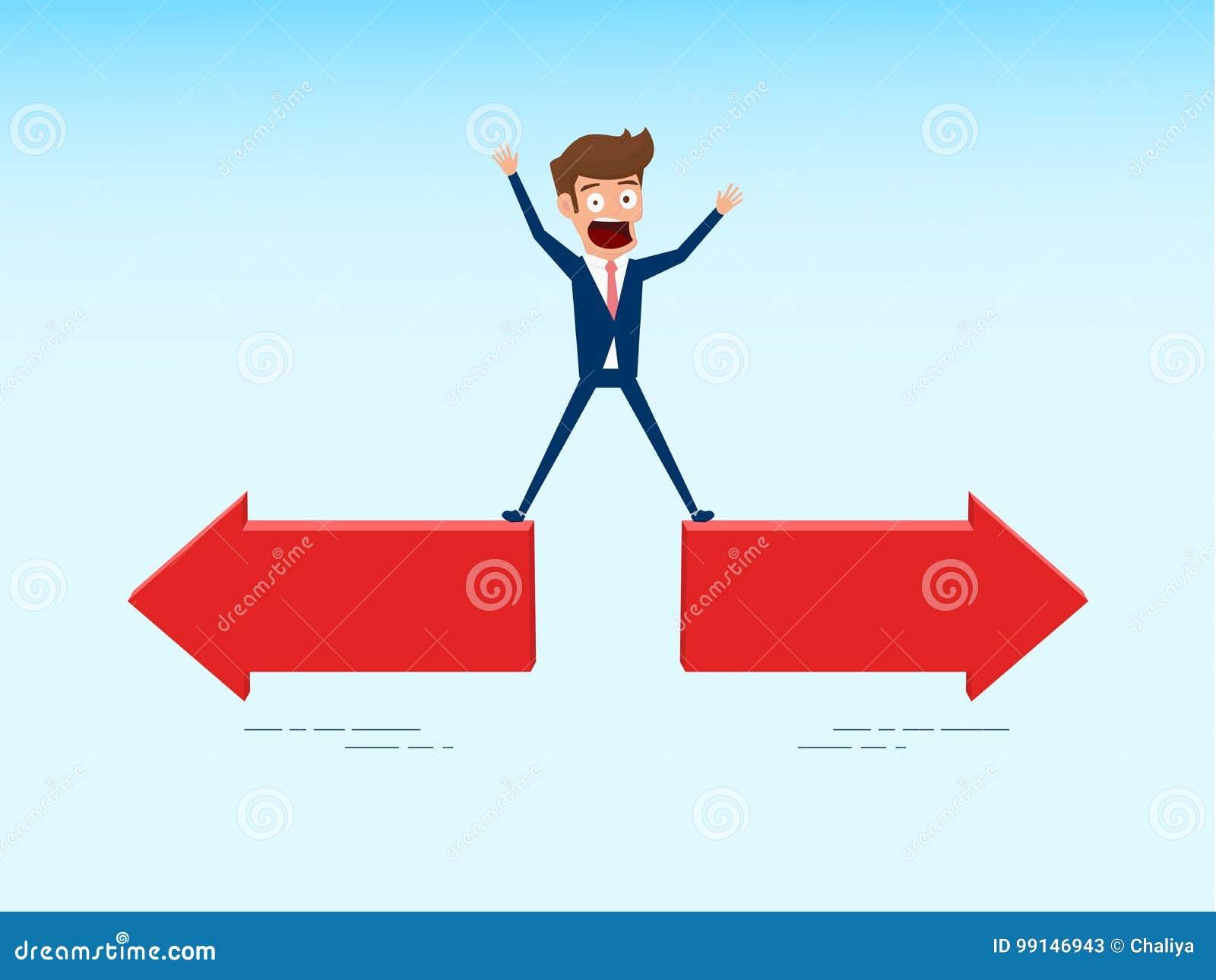 L homme d affaires indécis choisit la manière de bonne direction Le concept de confus choisit le chemin droit