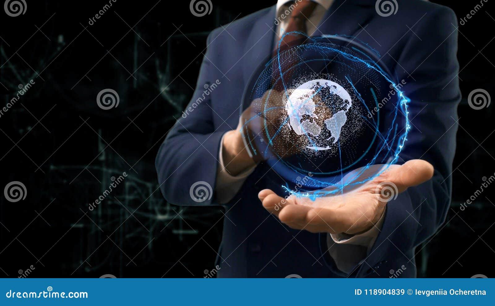 L'homme D'affaires Montre La Terre D'hologramme De Concept