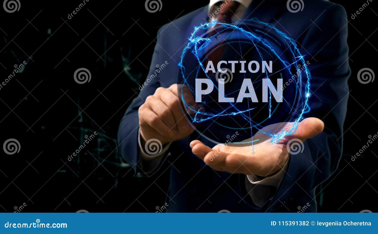 L'homme D'affaires Montre Le Plan D'action D'hologramme De