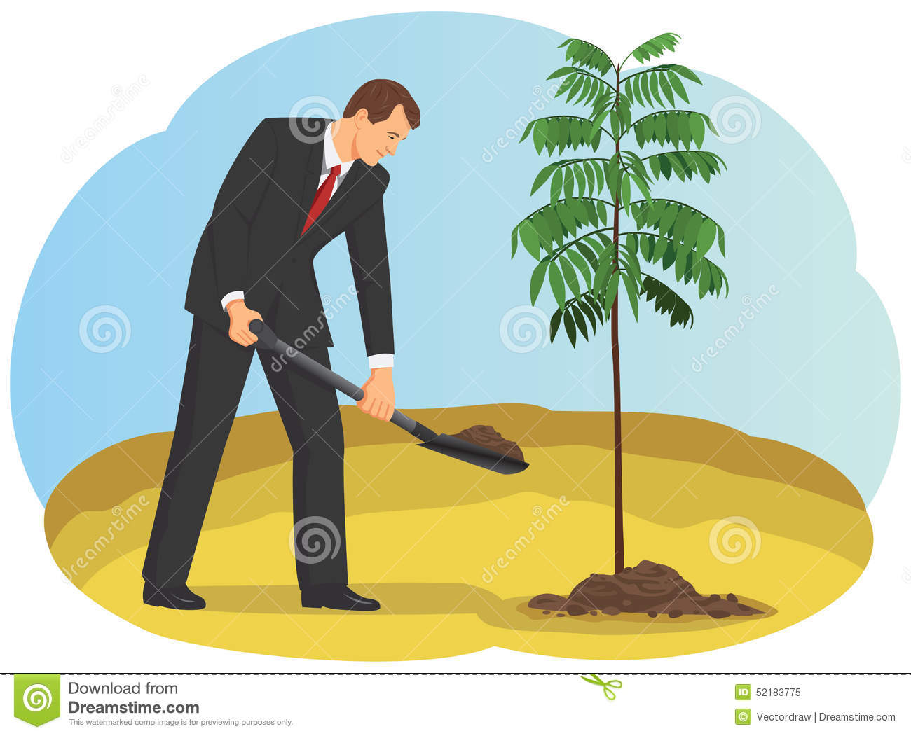 L 39 homme d 39 affaires plante un arbre illustration de vecteur for Plante un arbre