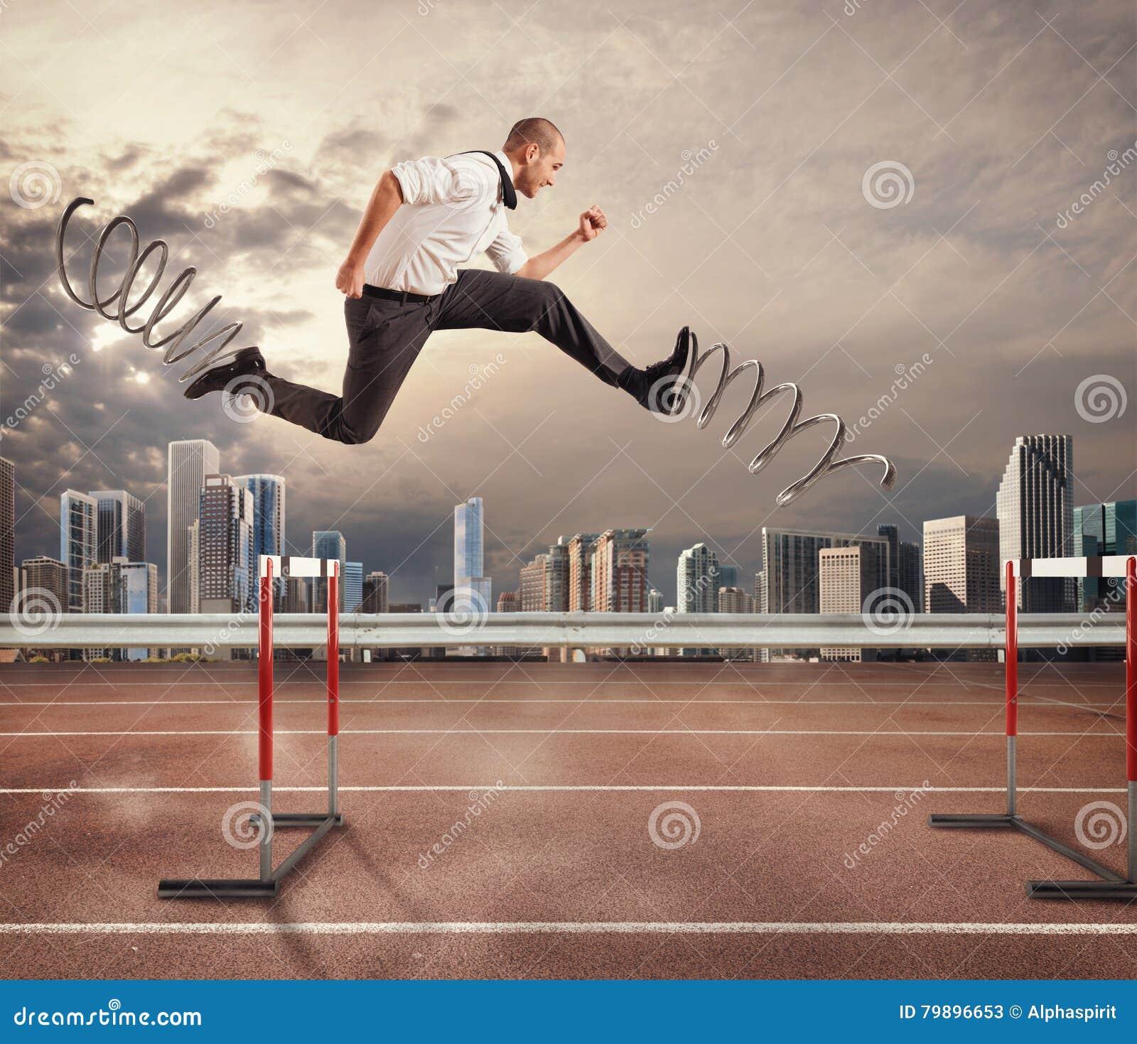 L homme d affaires rapide surmontent et réalisent le succès rendu 3d