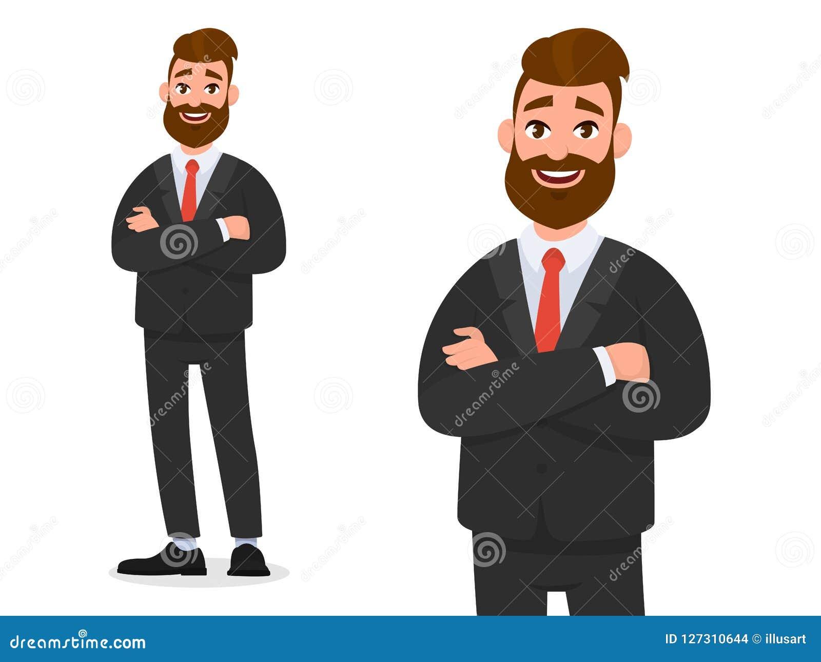 L homme d affaires sûr de sourire dans le tenue de soirée noir avec des bras a croisé d isolement en portrait blanc de fond et à