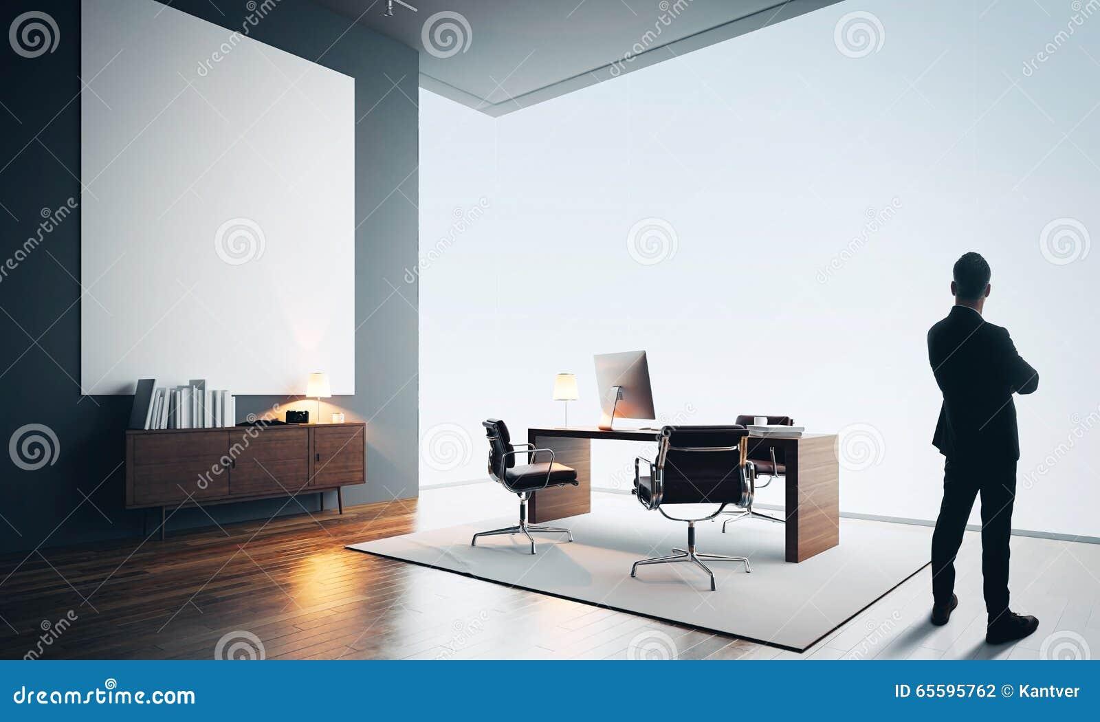 d licieux le bureau moderne 3 l homme d affaires se tient dans le bureau moderne avec une. Black Bedroom Furniture Sets. Home Design Ideas