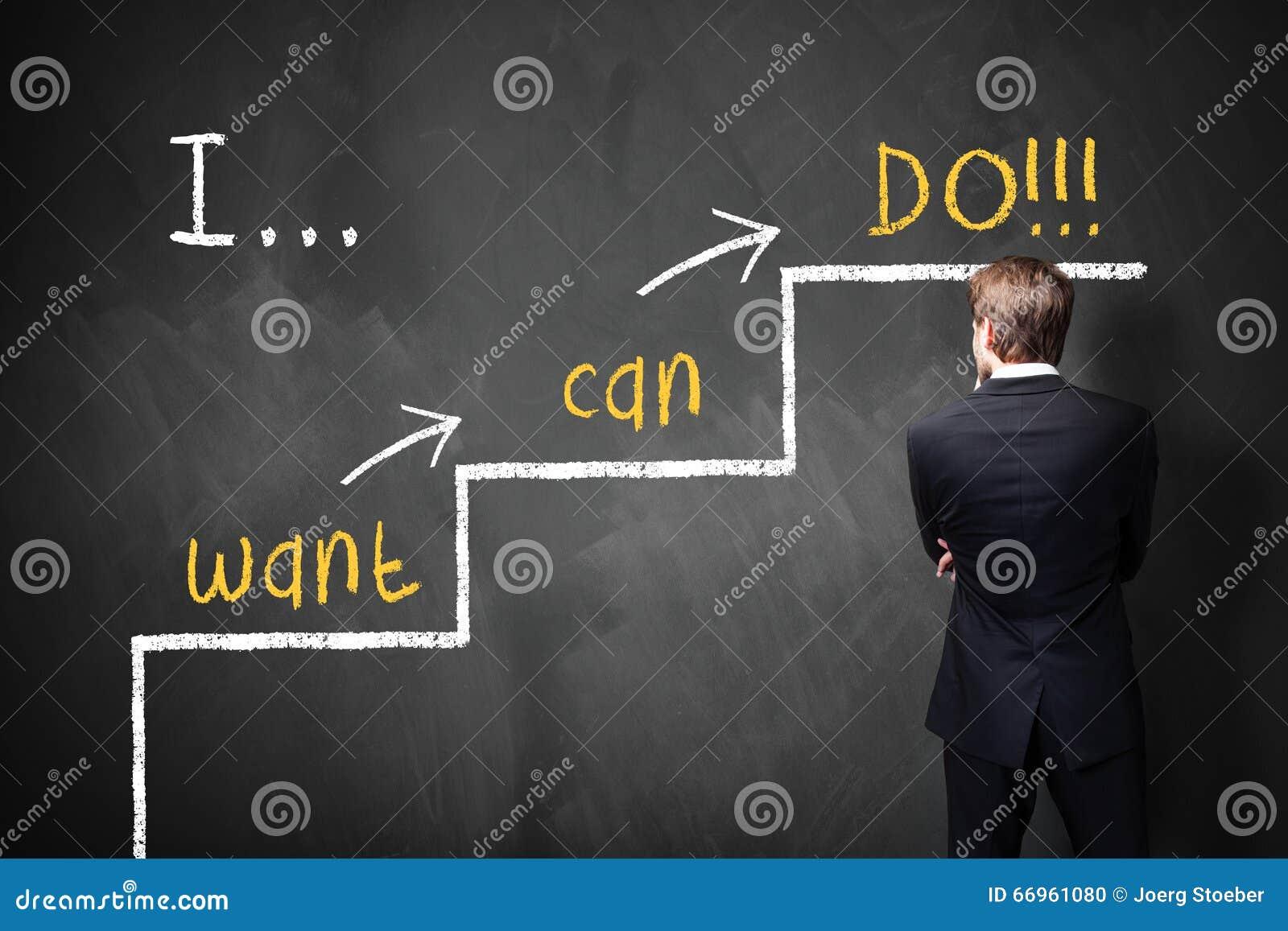 L homme d affaires se tient devant un tableau noir avec un message de motivation