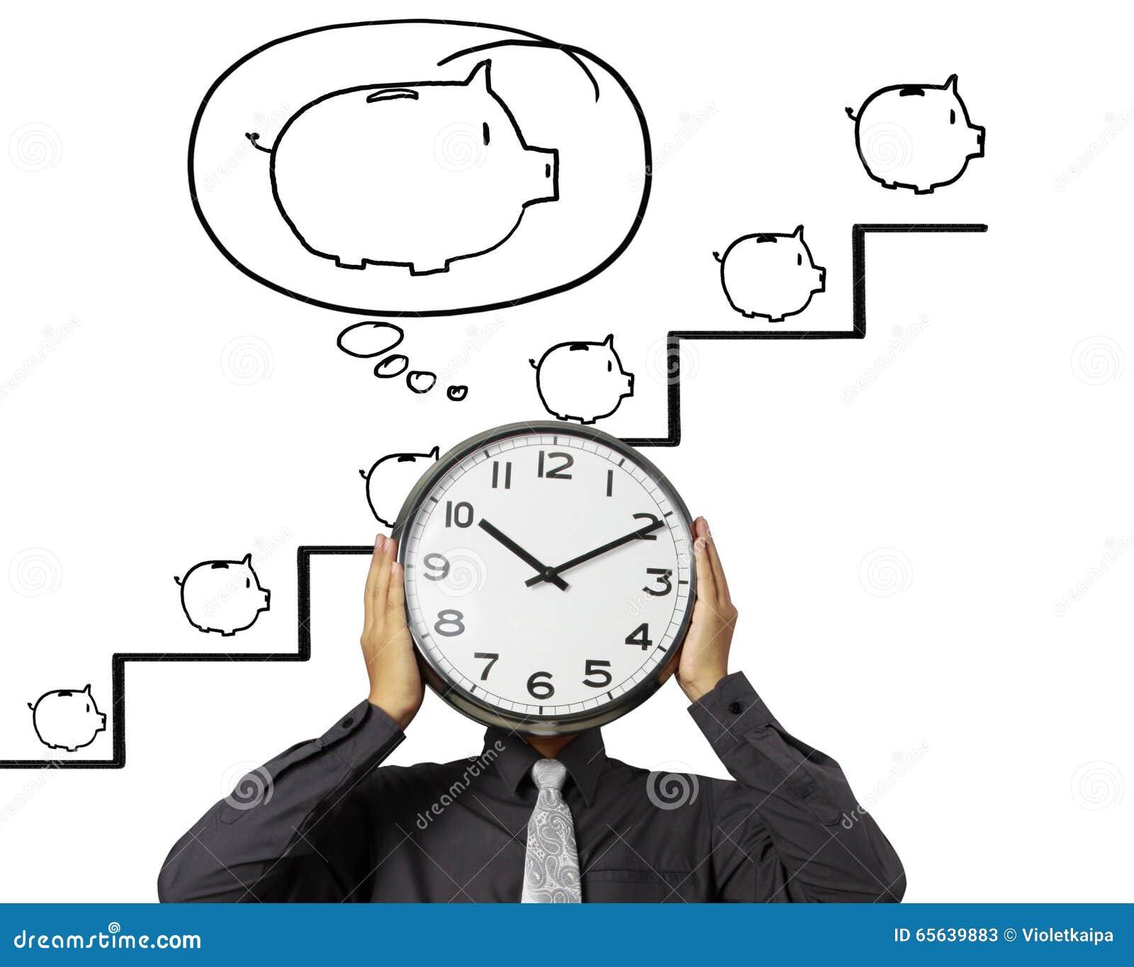 L homme d affaires tient l horloge de la tête