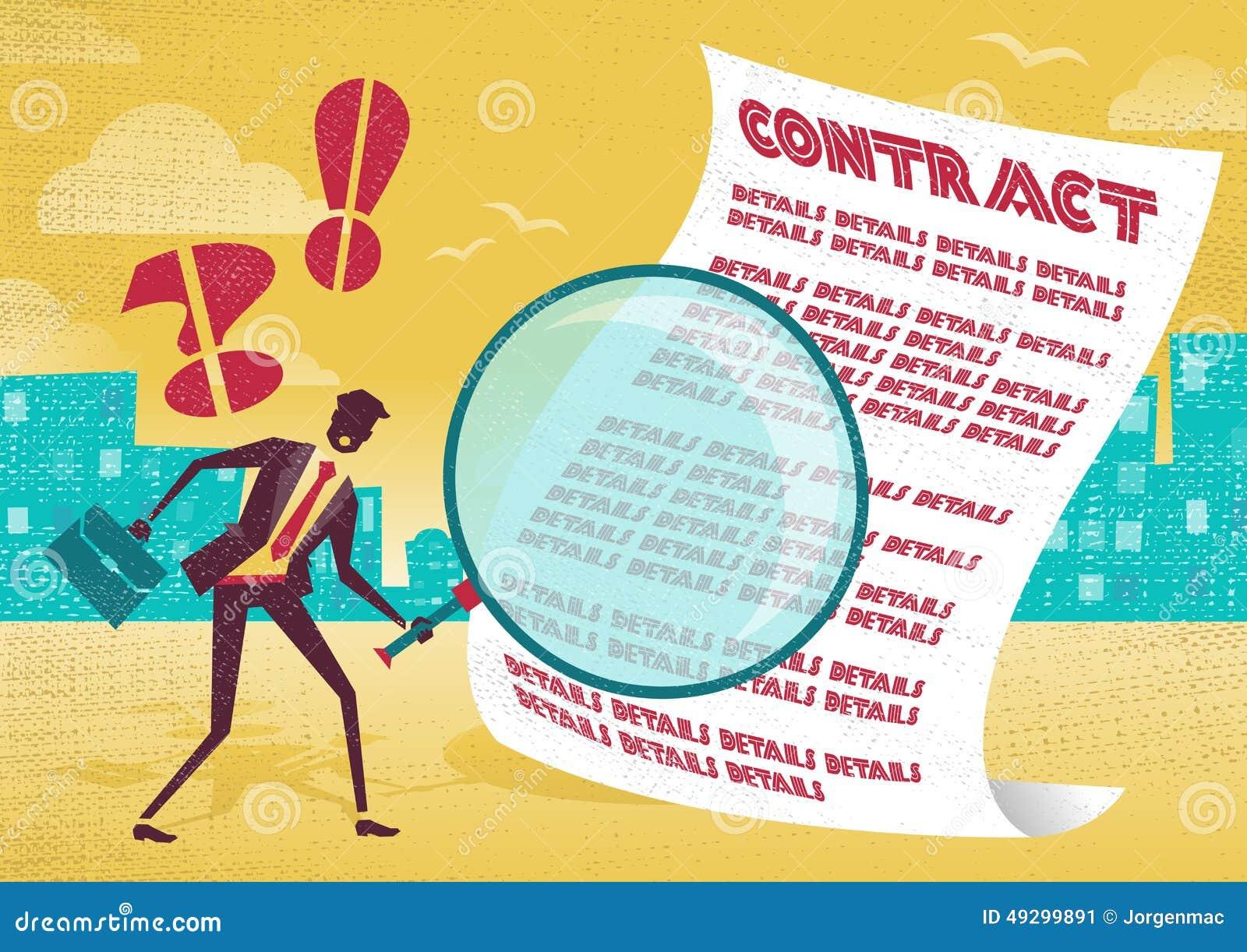 L homme d affaires utilise la loupe pour vérifier le contrat