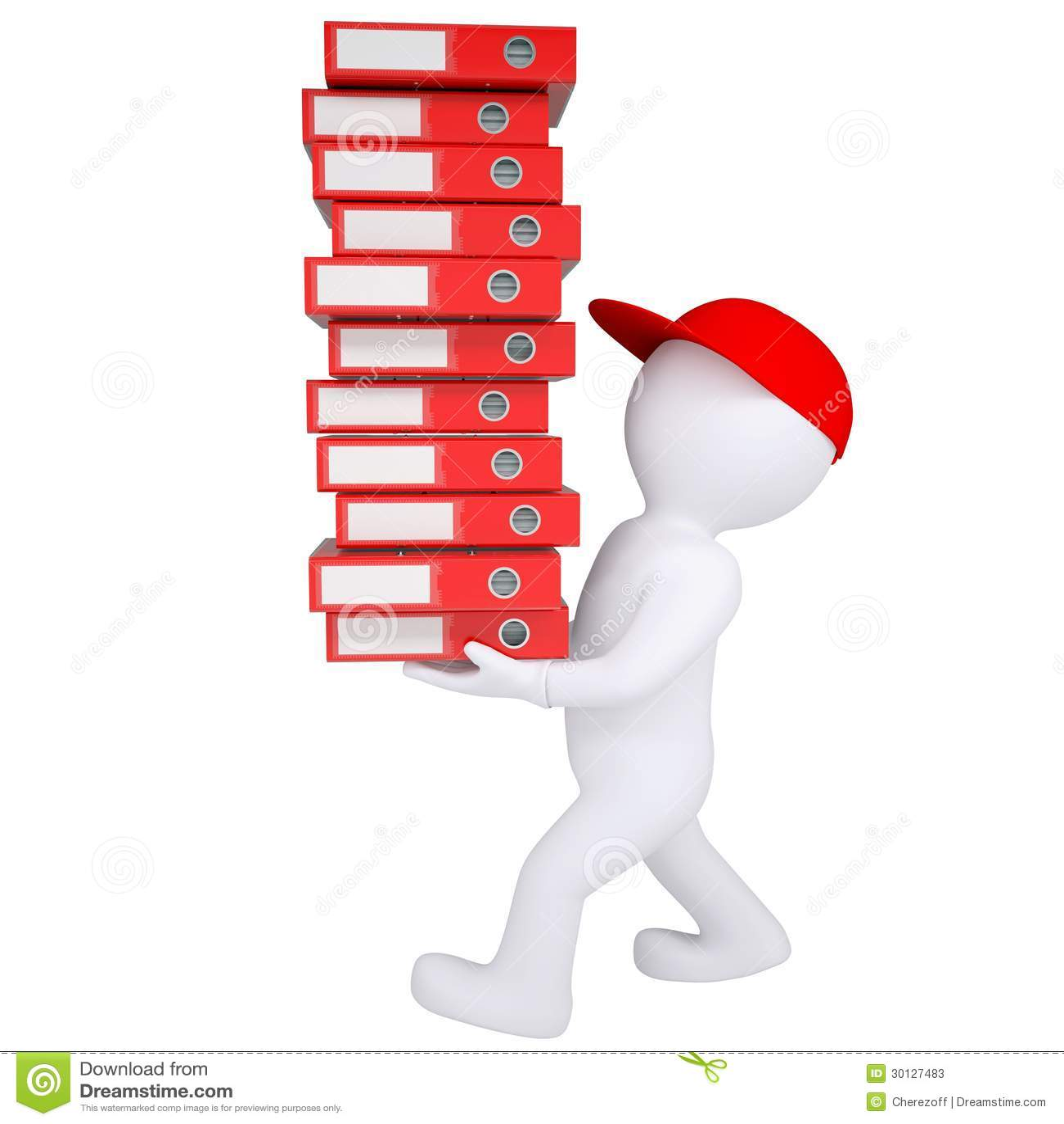 L 39 homme 3d blanc porte la pile de dossiers de bureau - Classement des dossiers dans un bureau ...