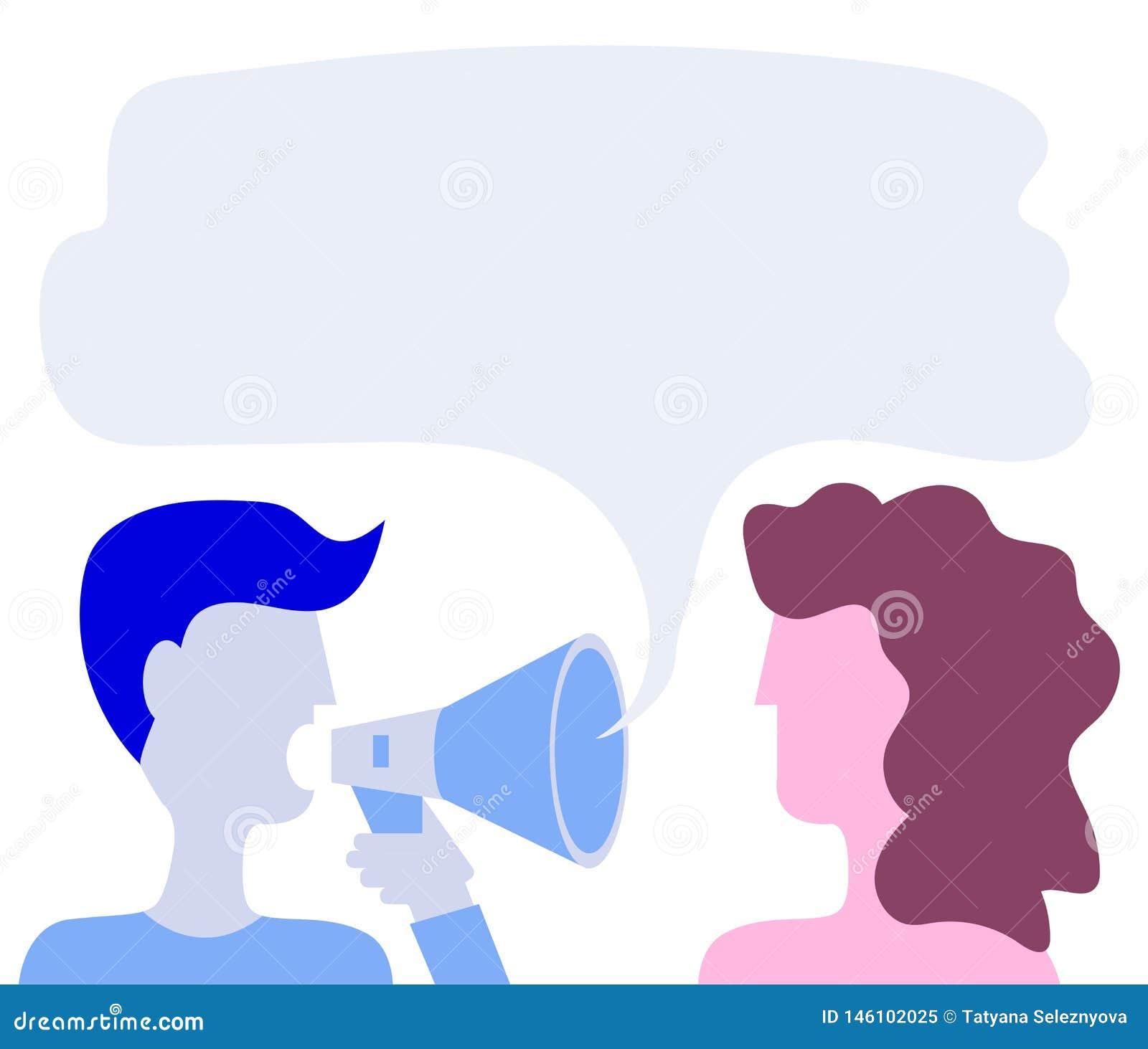 L homme dit des cris dans un cri Une femme écoute Dites un ami Style plat Vecteur