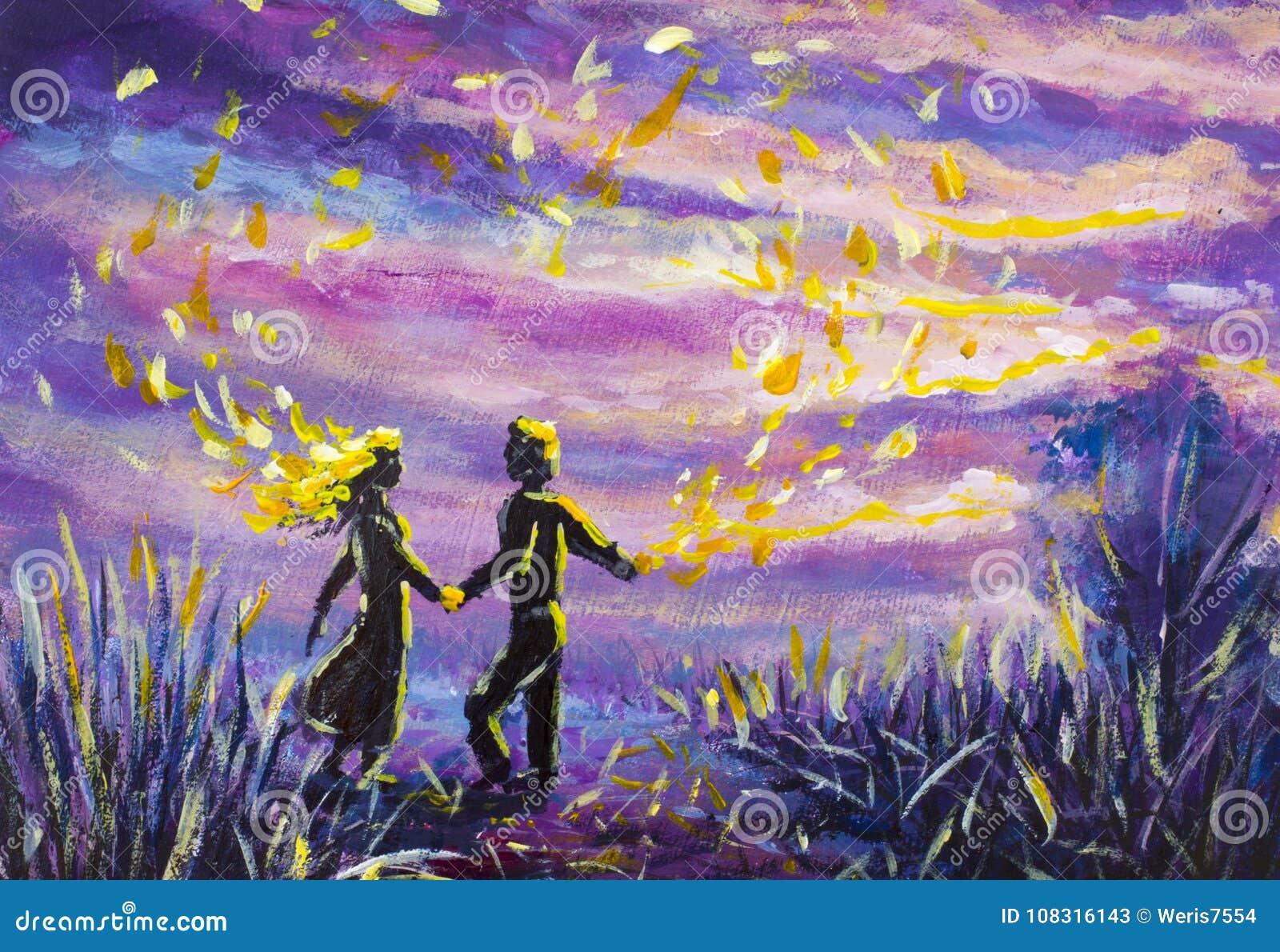 L'homme Et La Femme Originaux D'abrégé Sur Peinture Dansent Sur Le Coucher  Du Soleil Nuit, Nature, Paysage, Ciel étoilé Pourpre, Illustration Stock -  Illustration du paysage, étoilé: 108316143
