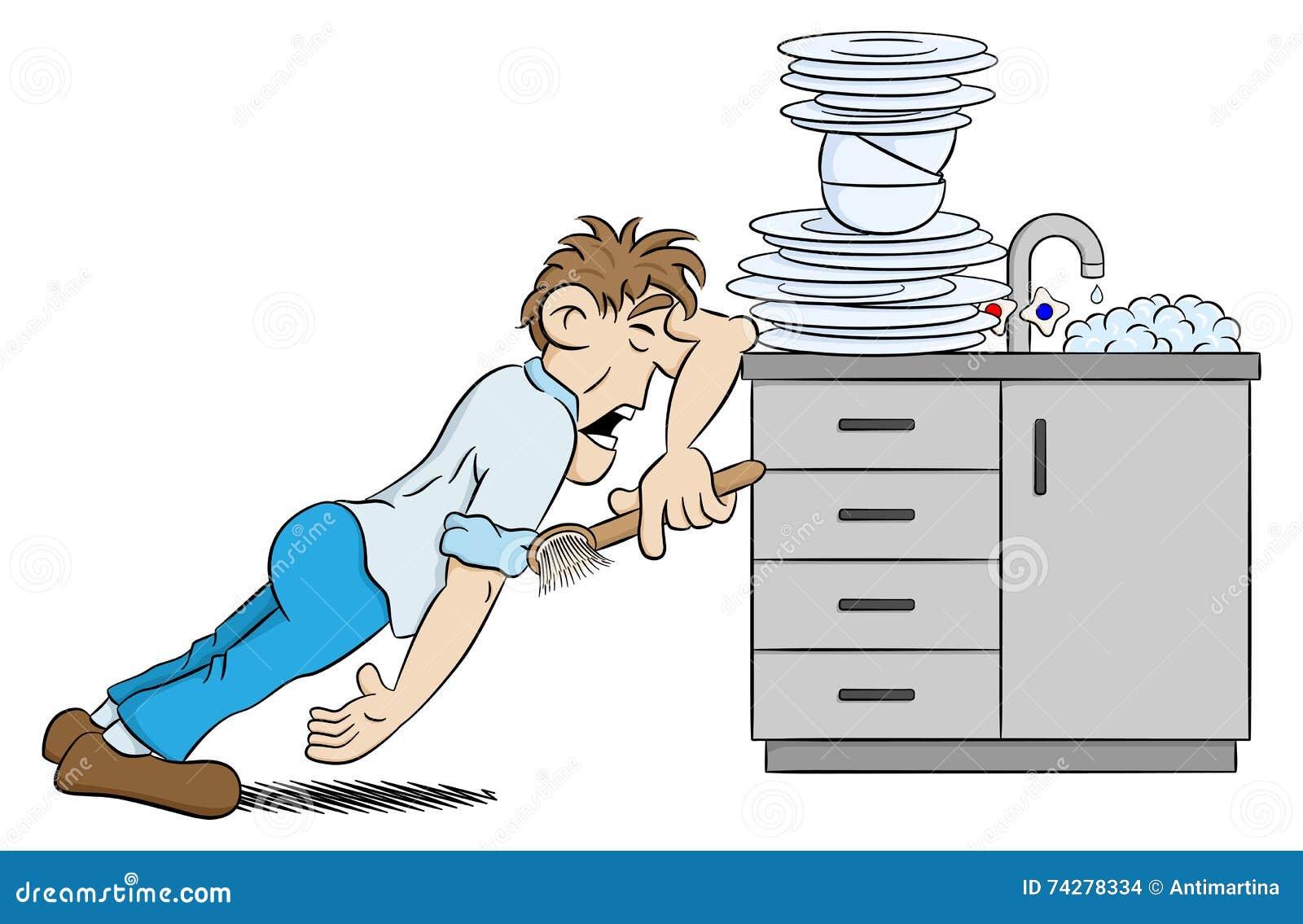 L'homme Fait La Vaisselle De Désespoir Illustration de ...