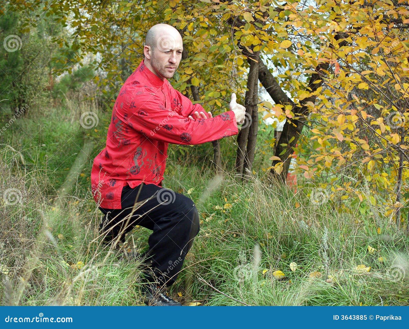 L homme pratique le chi de tai