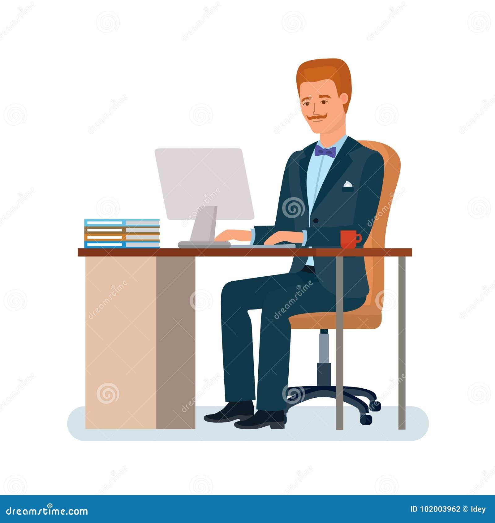 Image D Un Bureau De Travail l'homme s'assied au bureau de travail près de l'ordinateur