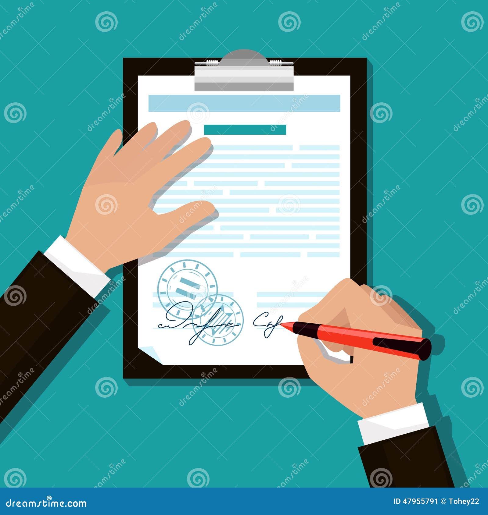 L homme signe des documents