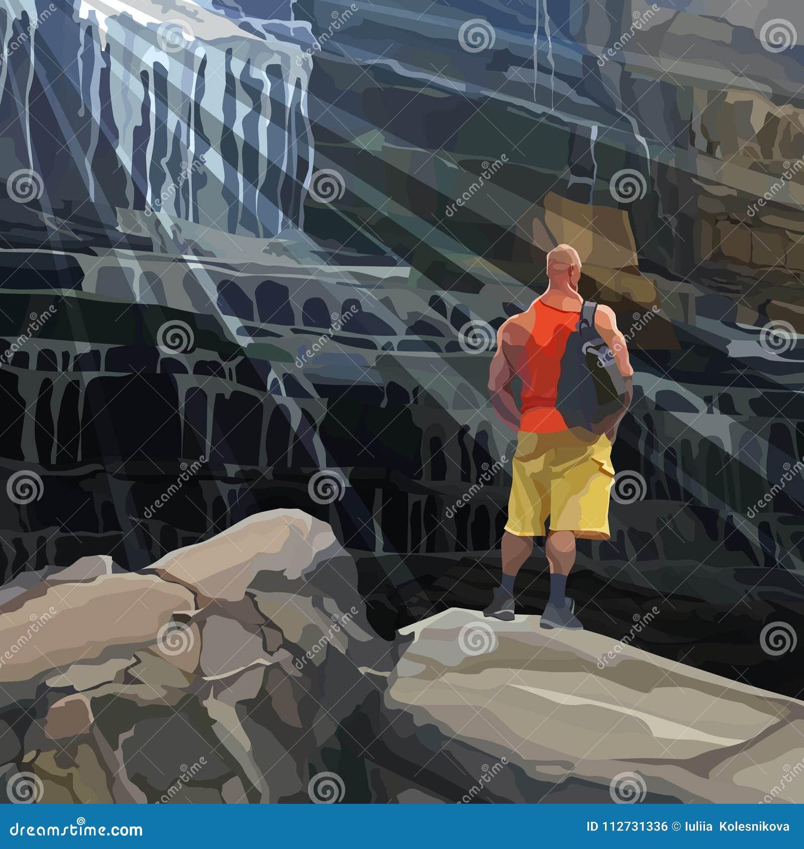 L homme sportif de bande dessinée se tient sur une roche près d une cascade énorme