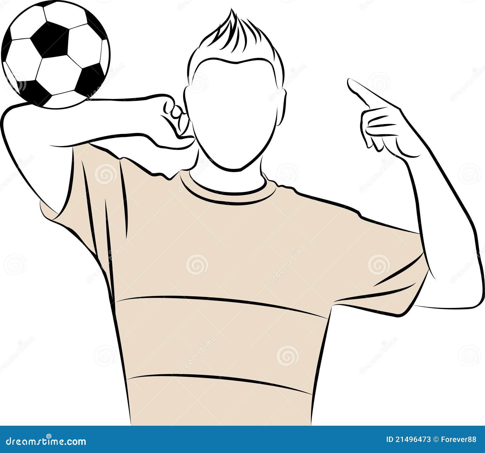 l 39 homme sportif de dessin anim joue au football illustration de vecteur illustration du h te. Black Bedroom Furniture Sets. Home Design Ideas