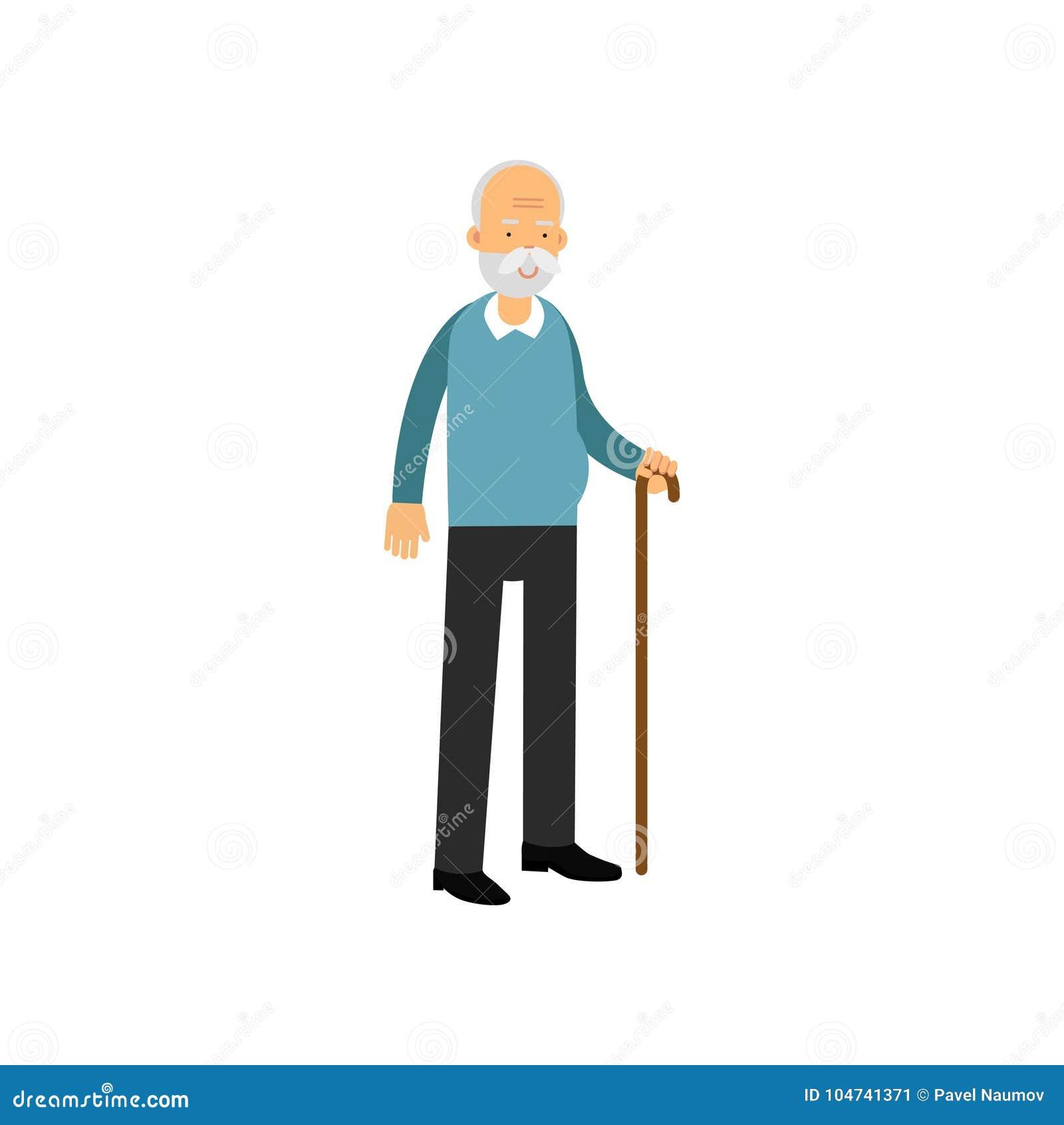 L homme supérieur se tenant avec la canne, les loisirs de personnes de retraité et l activité dirigent l illustration