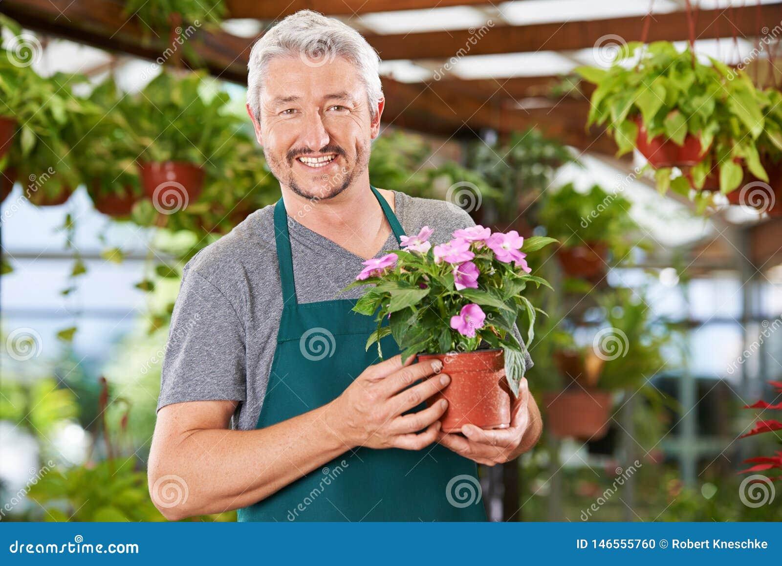 L homme travaille en tant que fleuriste à la jardinerie