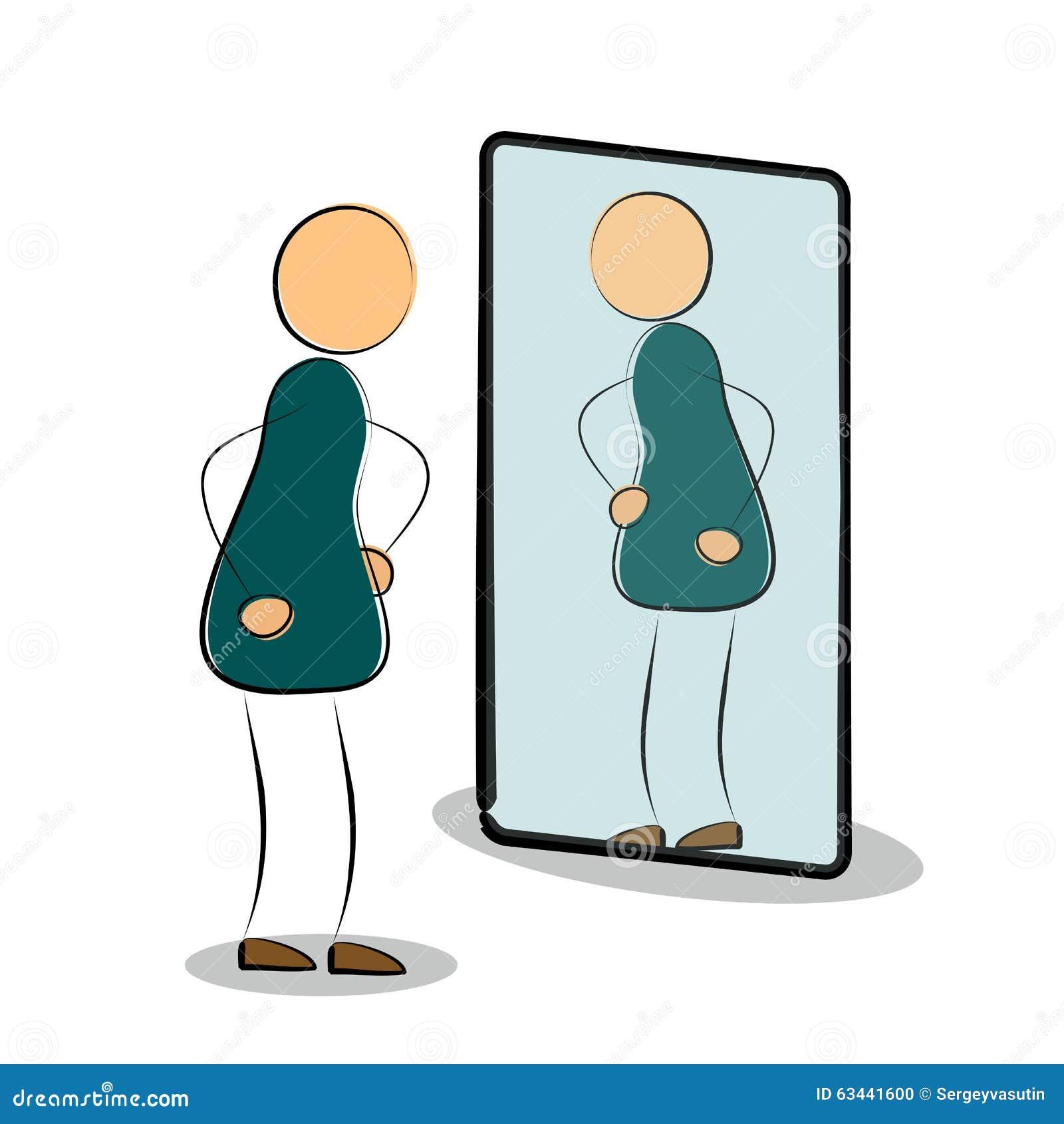 L 39 homme voient sa r flexion dans le miroir illustration for Regard dans le miroir