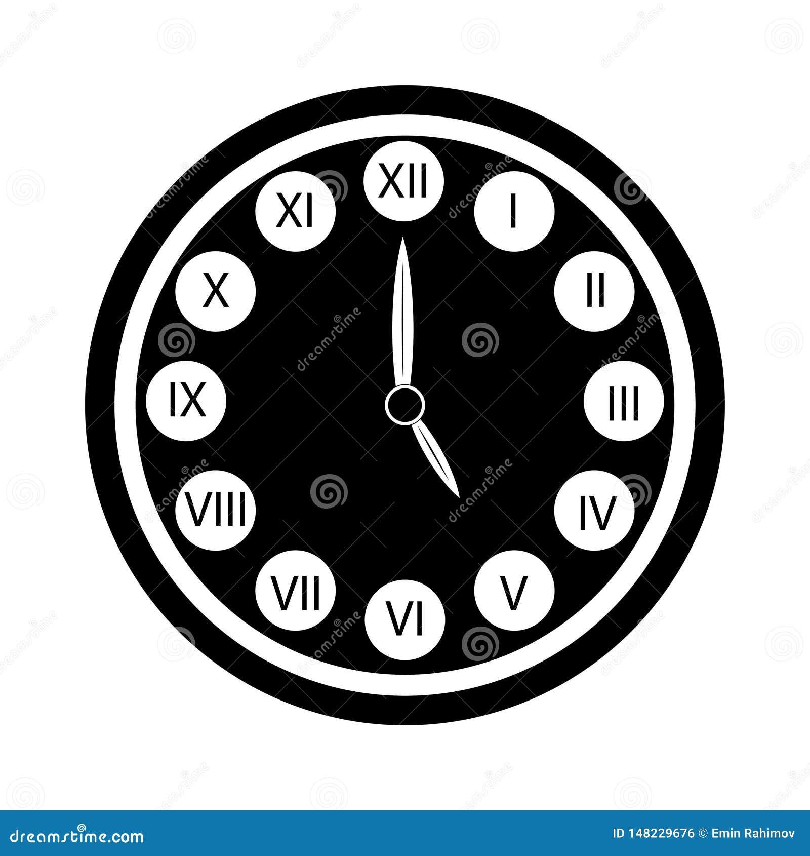 L horloge noire avec l icône de chiffres romains a isolé Horloge de `de cinq o