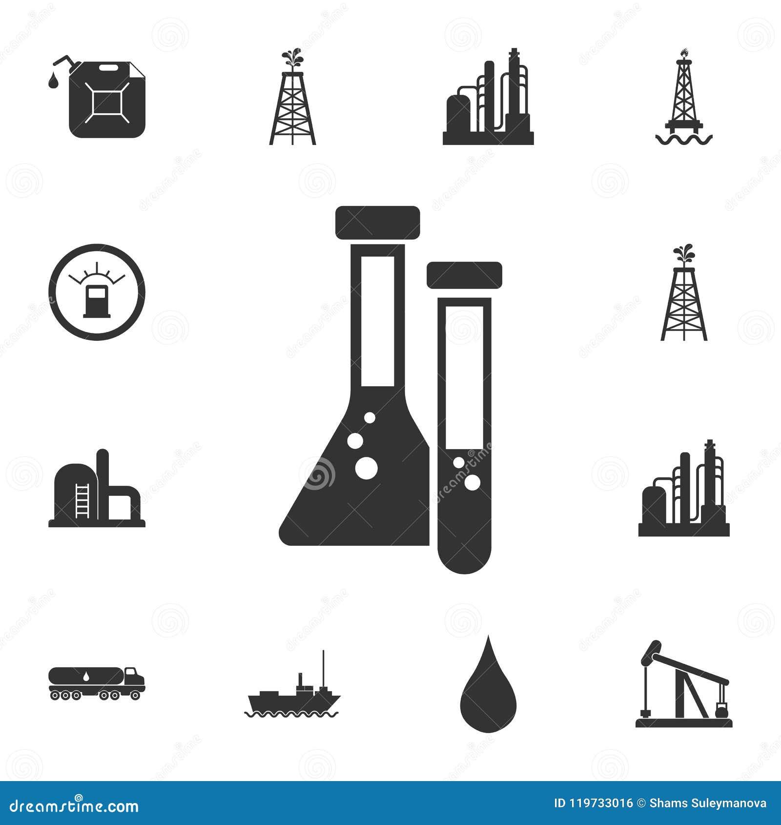 L huile analyse l icône Illustration simple d élément L huile analyse la conception de symbole de l ensemble de collection d esse