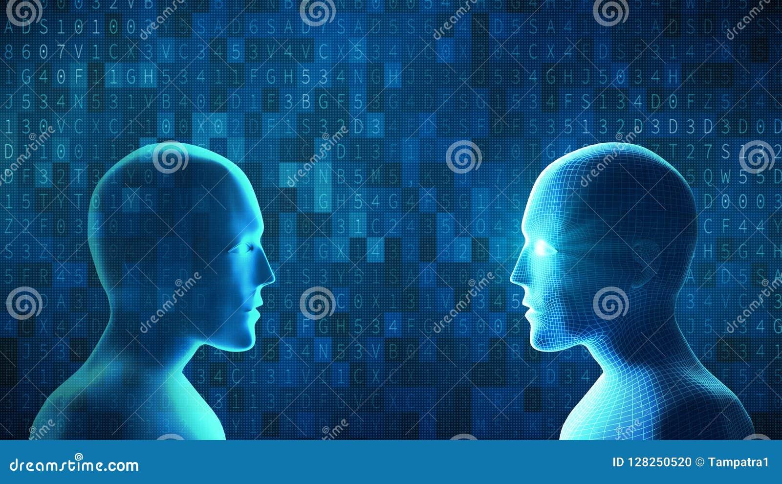 L humain combat le robot avec le code de données de calculateur numérique sur le backg bleu