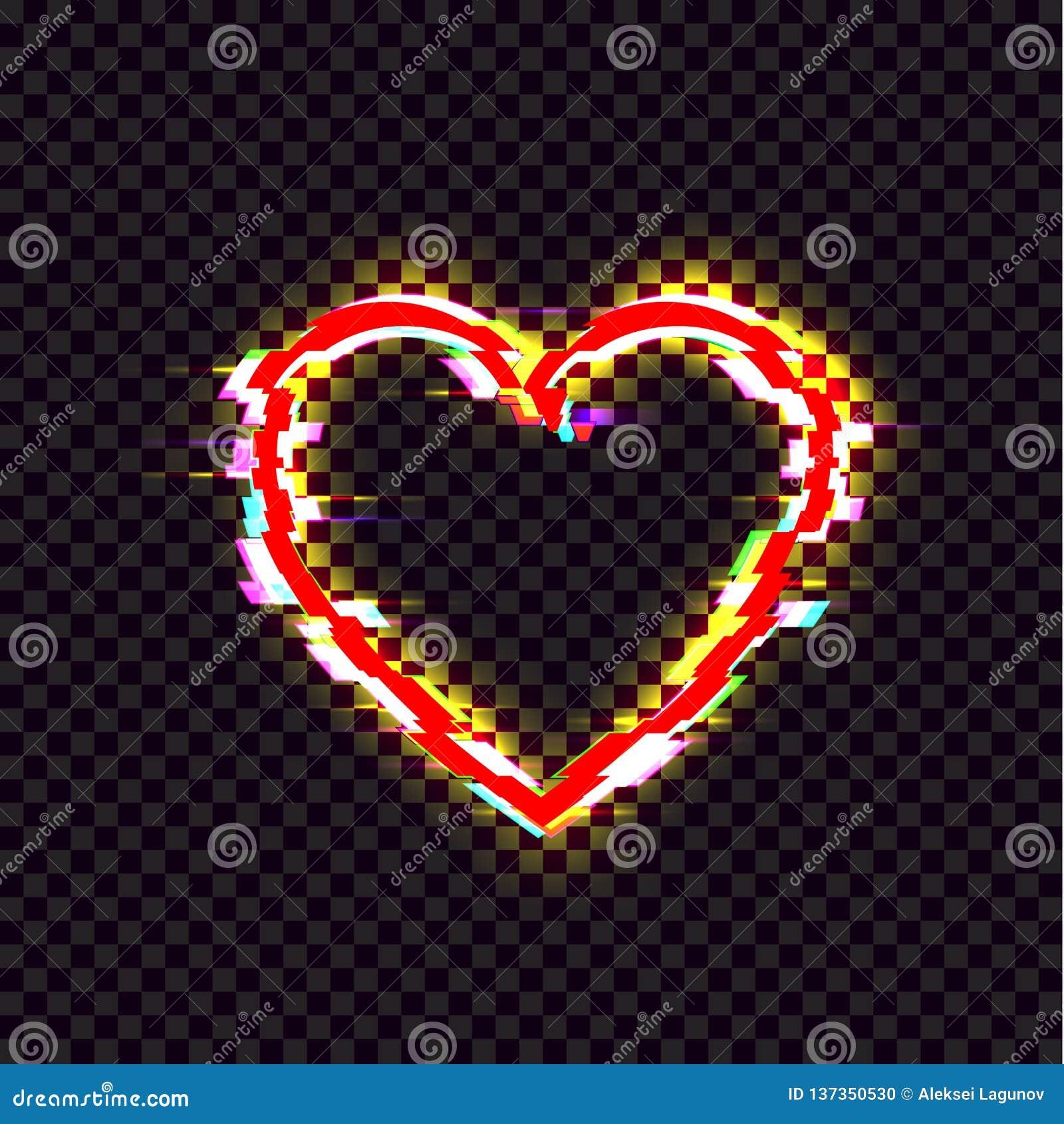 L icône brillante de coeur de vecteur, effet de problème, signe lumineux lumineux rouge a isolé