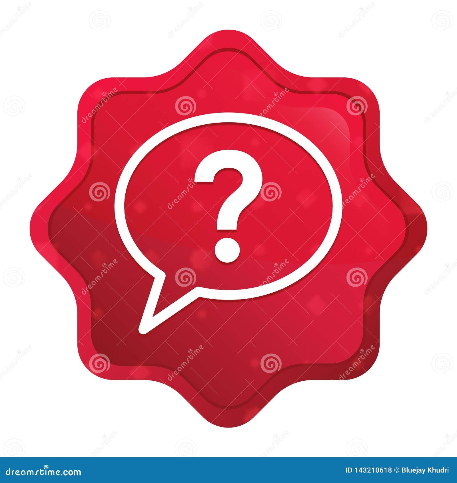 L icône de bulle de point d interrogation brumeuse a monté bouton rouge d autocollant de starburst
