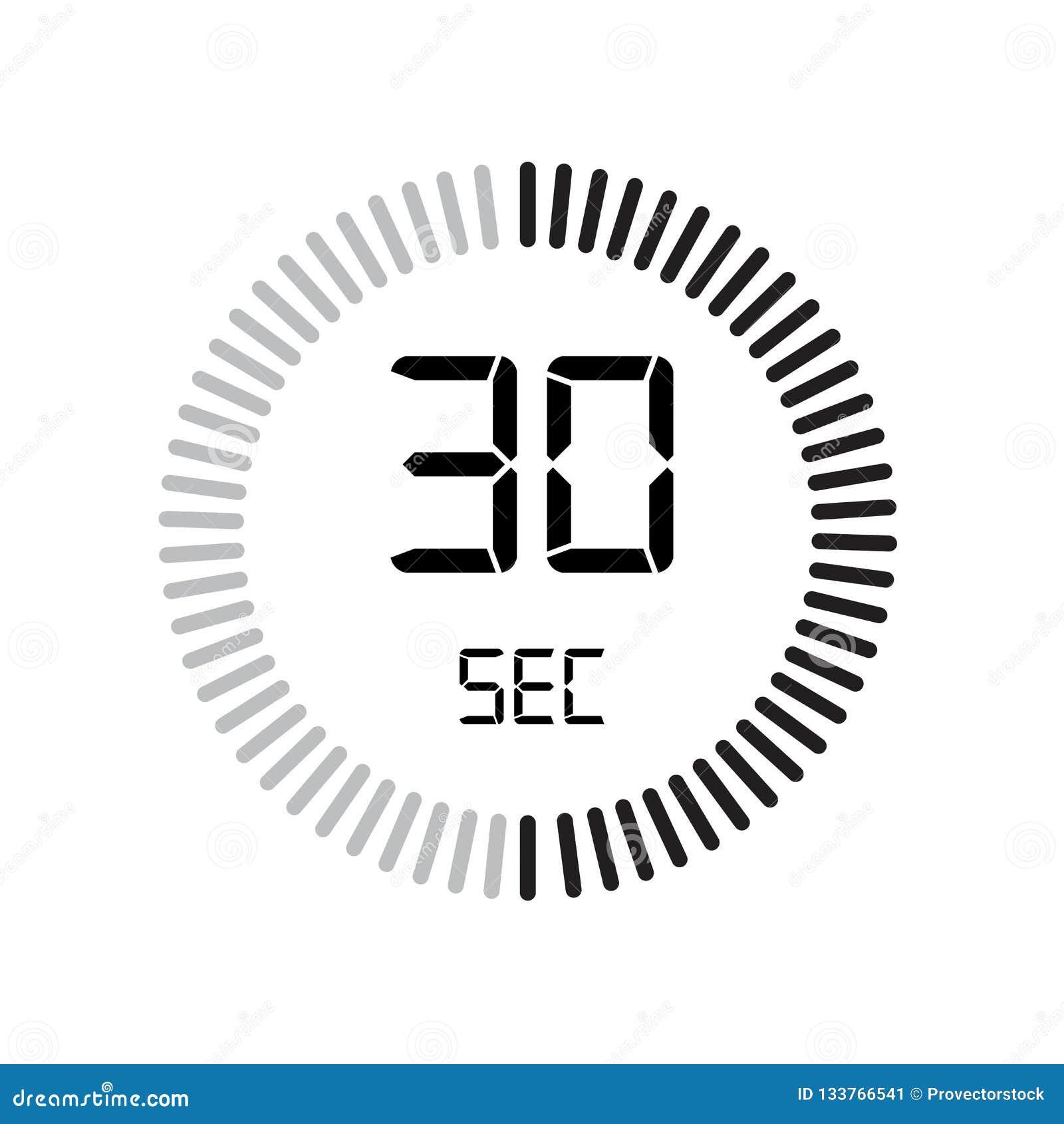 L icône de 30 secondes, minuterie numérique horloge et montre, minuterie, coun