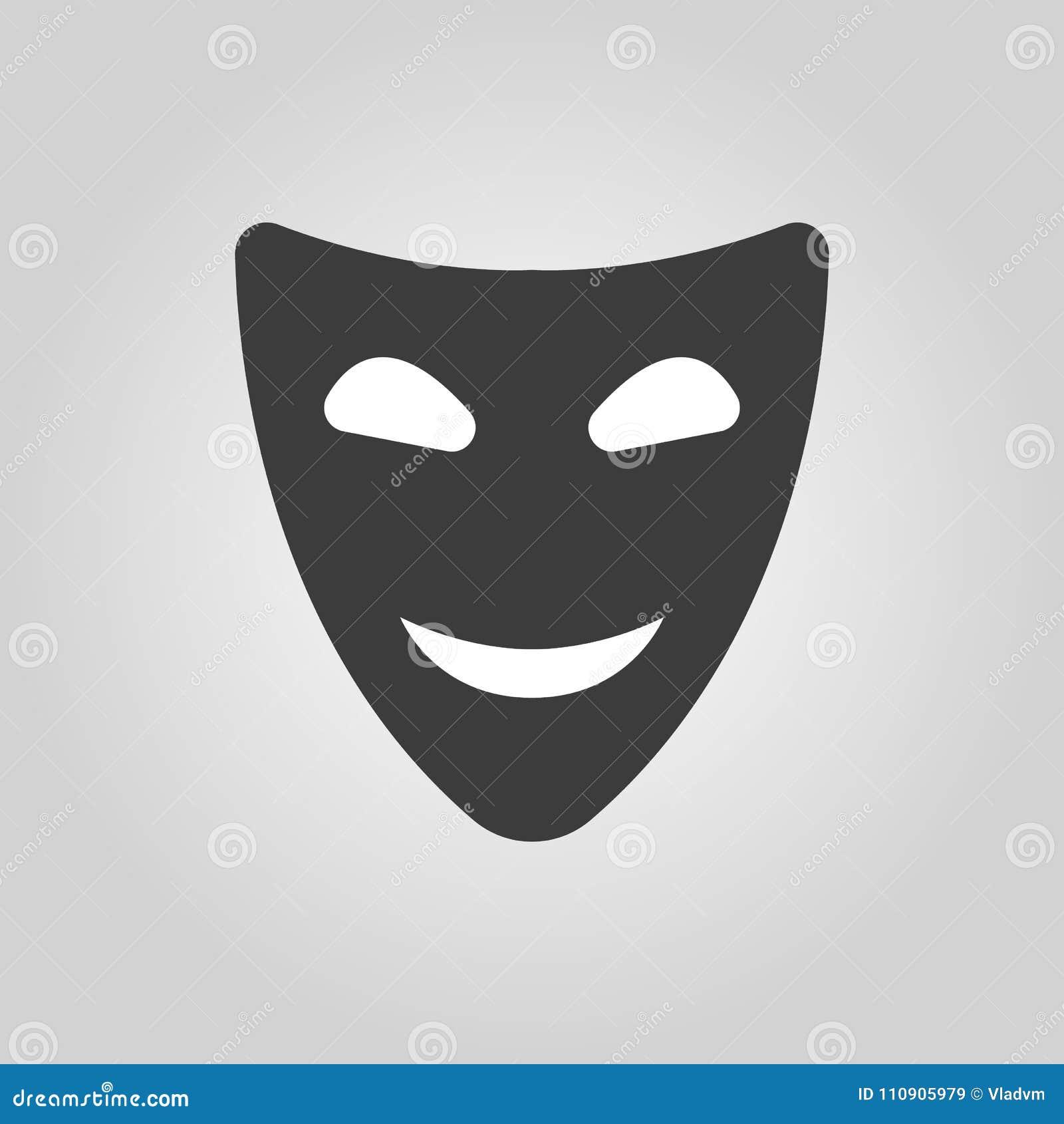 Licône De Sourire De Masque Symbole De Comédie Et De Théâtre Plat