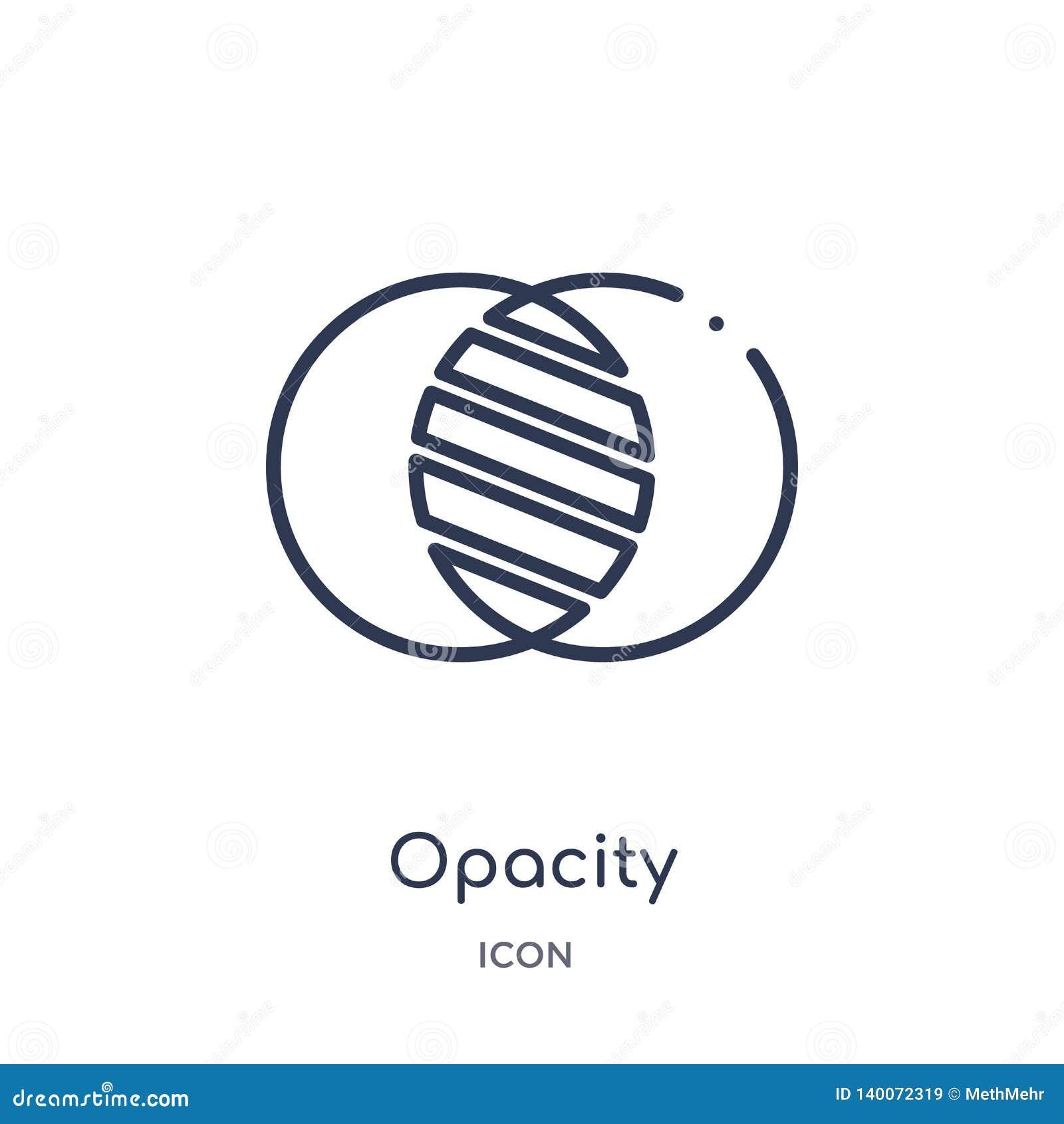 L icône linéaire d opacité de éditent la collection d ensemble d outils Ligne mince icône d opacité d isolement sur le fond blanc