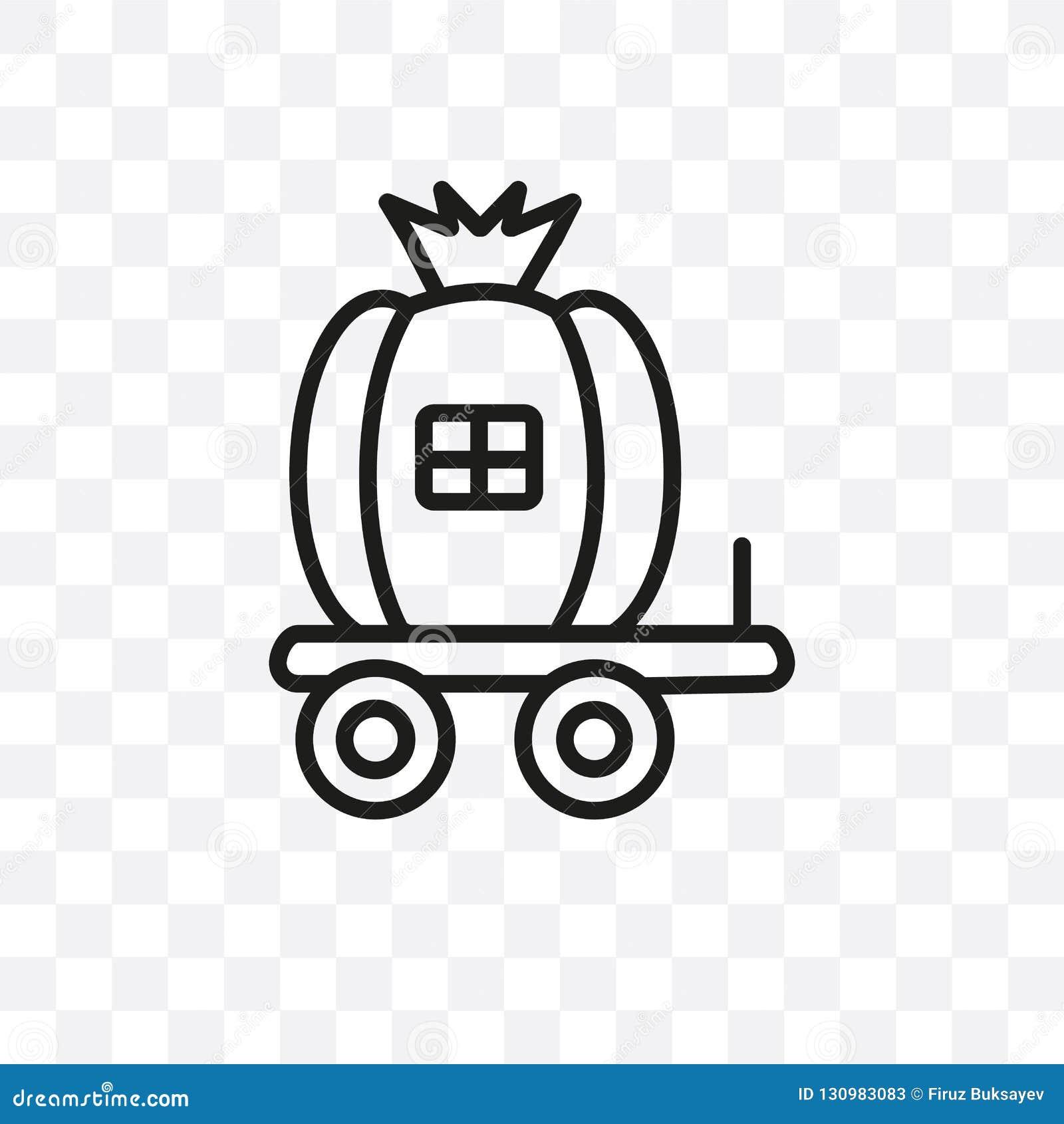 L icône linéaire de vecteur de chariot de Cendrillon d isolement sur le fond transparent, concept de transparent de chariot de Ce