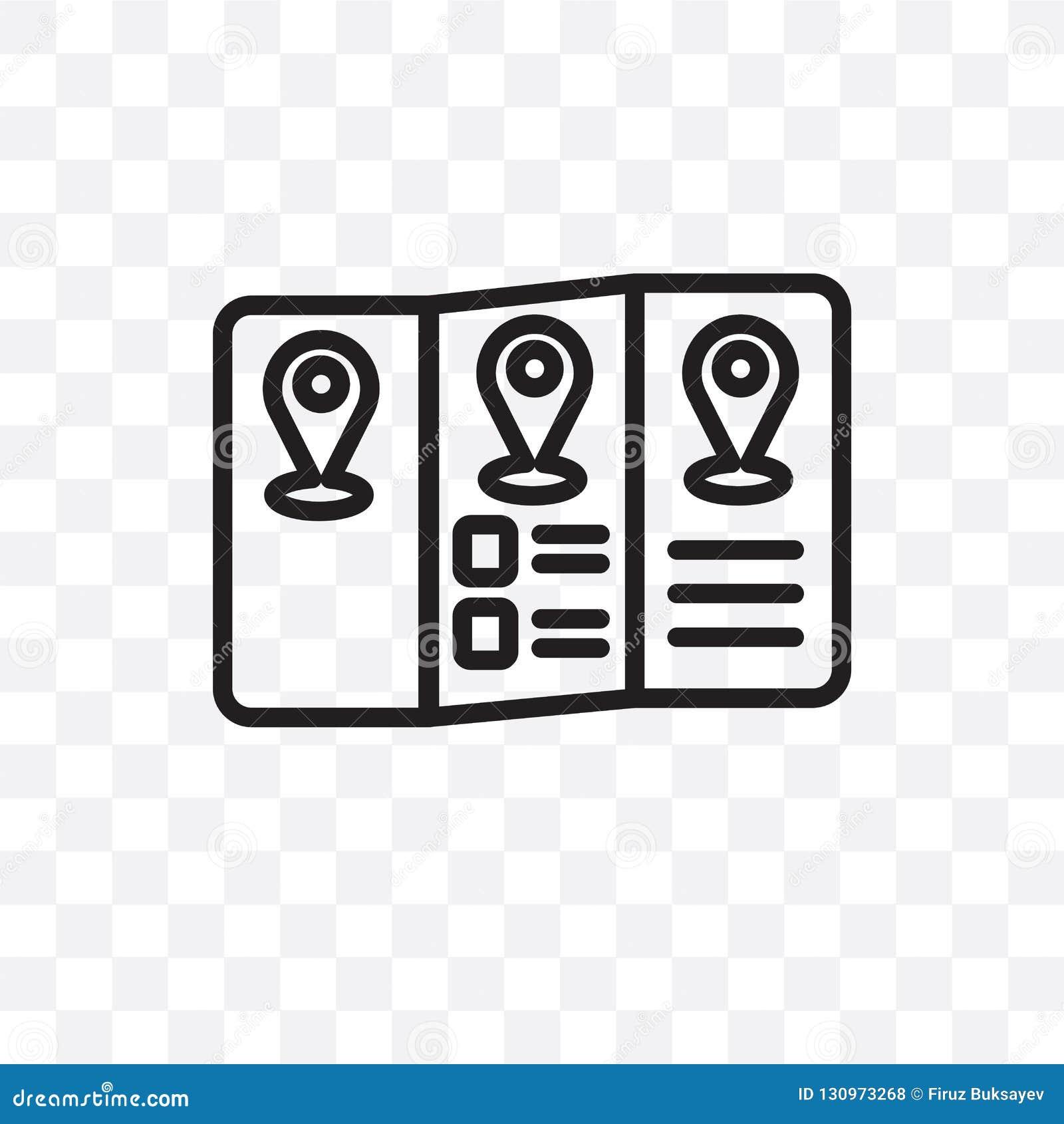 L icône linéaire de vecteur de guide de voyage d isolement sur le fond transparent, concept de transparent de guide de voyage peu