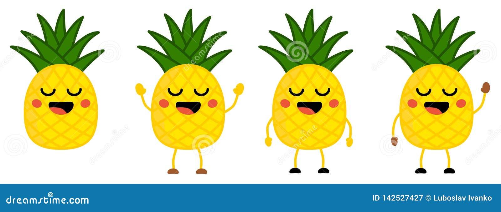 L icône mignonne de fruit d ananas de style de kawaii, yeux s est fermée, souriant avec la bouche ouverte Version avec des mains