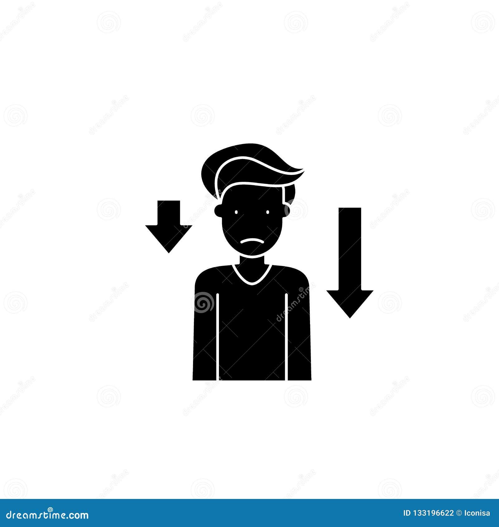 L icône noire de prostration, dirigent pour se connecter le fond d isolement Symbole de concept de prostration, illustration