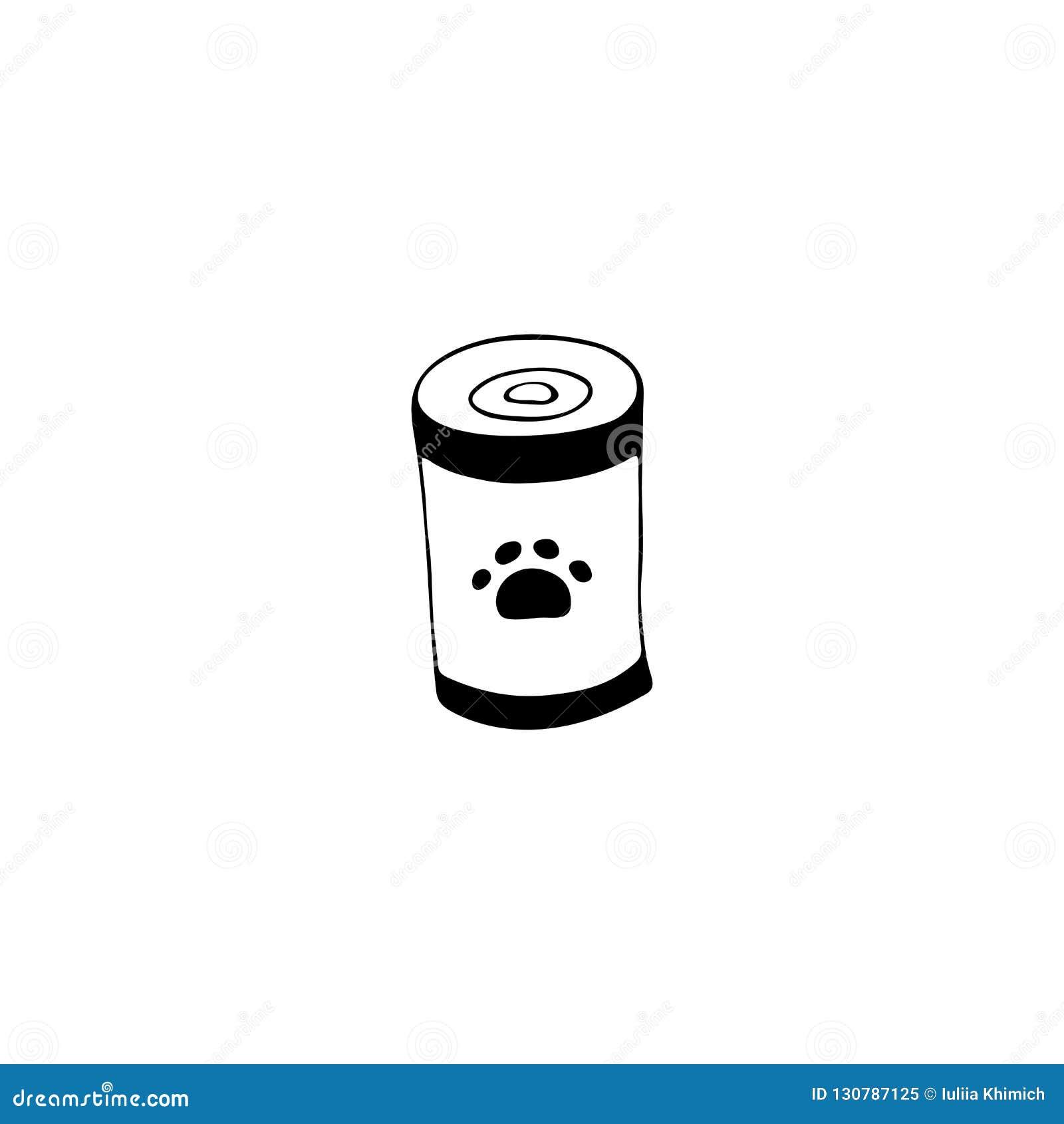 L icône tirée par la main de vecteur, peut avec l aliment pour animaux familiers Élément de logo pour des affaires relatives d an