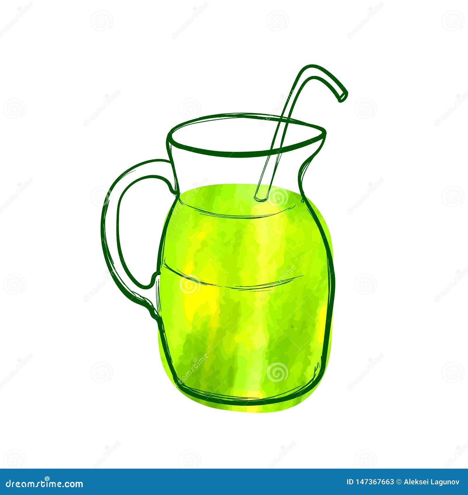 L icône verte tirée par la main de cocktail de vecteur, peinture d aquarelle, couleur lumineuse verte, objectent les nourritures