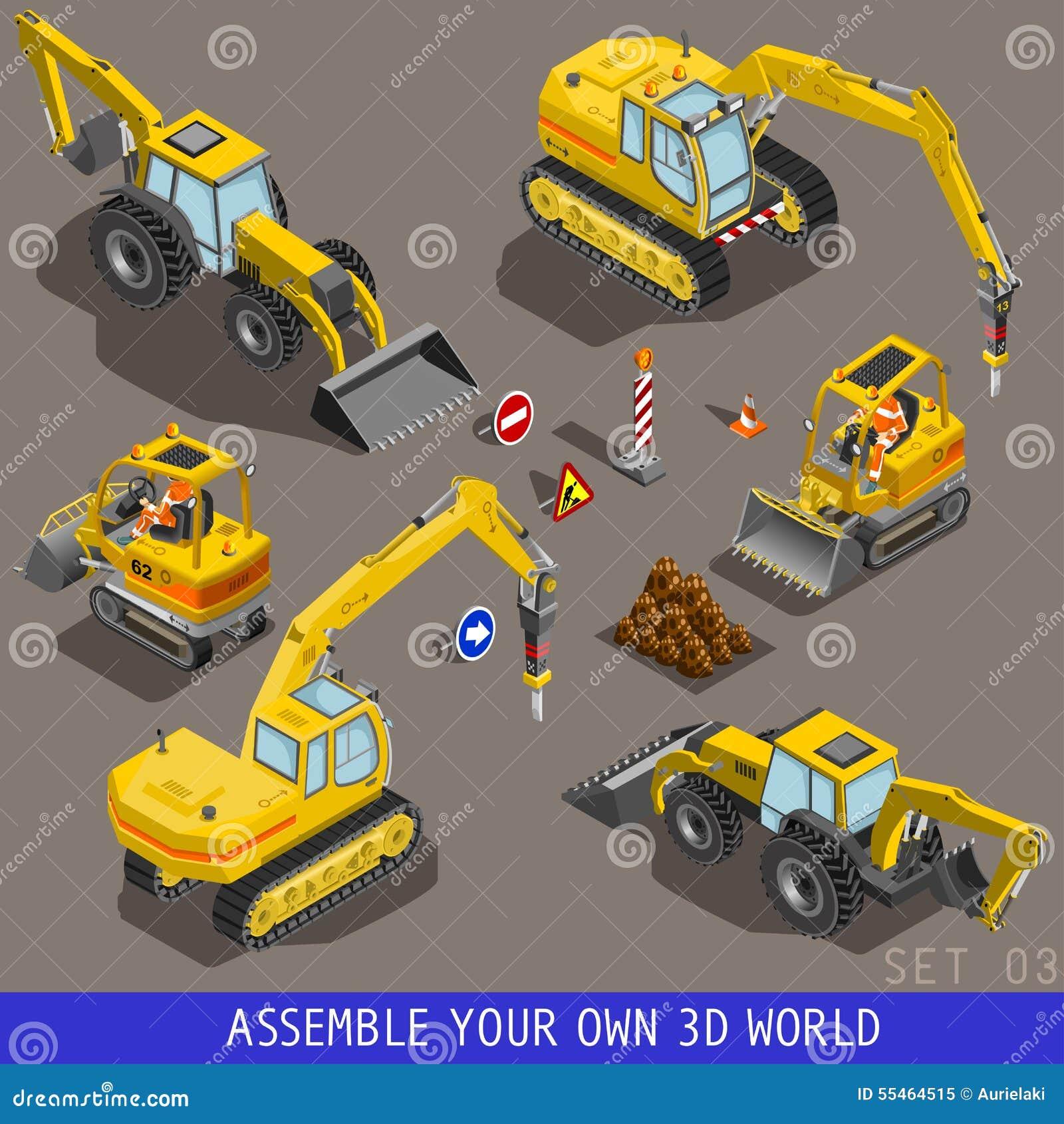 L icône 3d plate isométrique de transport de construction de ville a placé 3