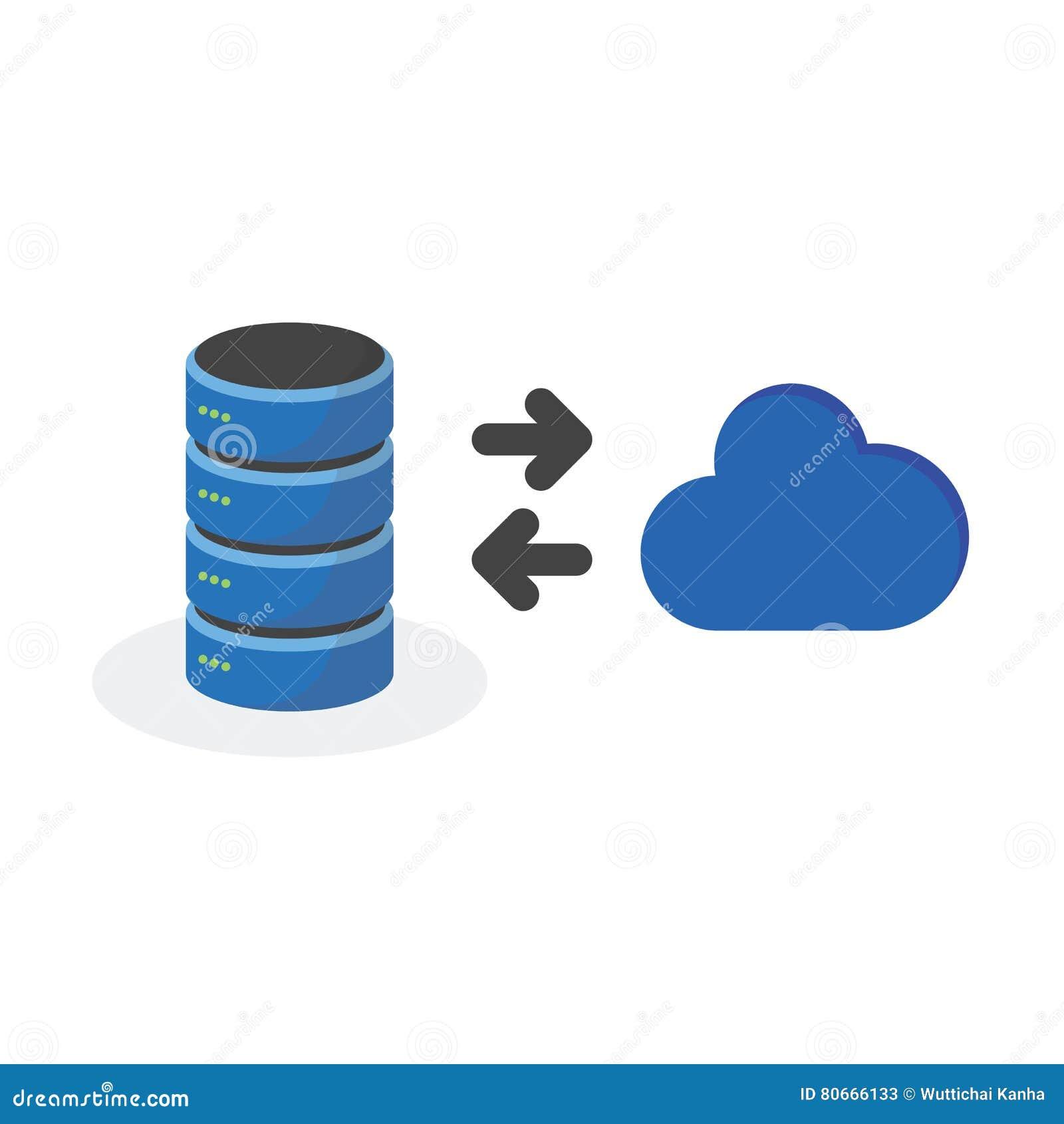 L icône de stockage de données avec relient le stockage de base de nuage