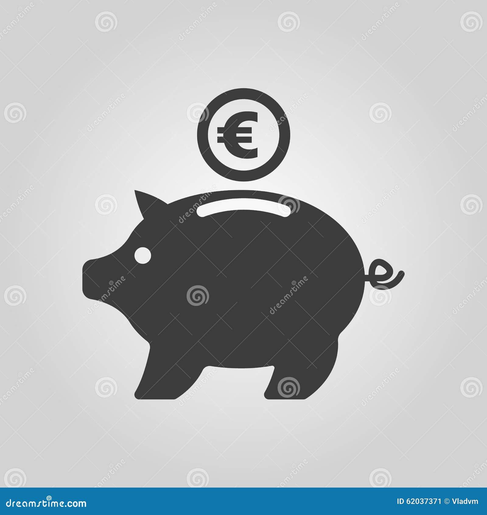 l 39 ic ne de tirelire et d 39 euro argent liquide et argent richesse symbole de l 39 pargne plat. Black Bedroom Furniture Sets. Home Design Ideas