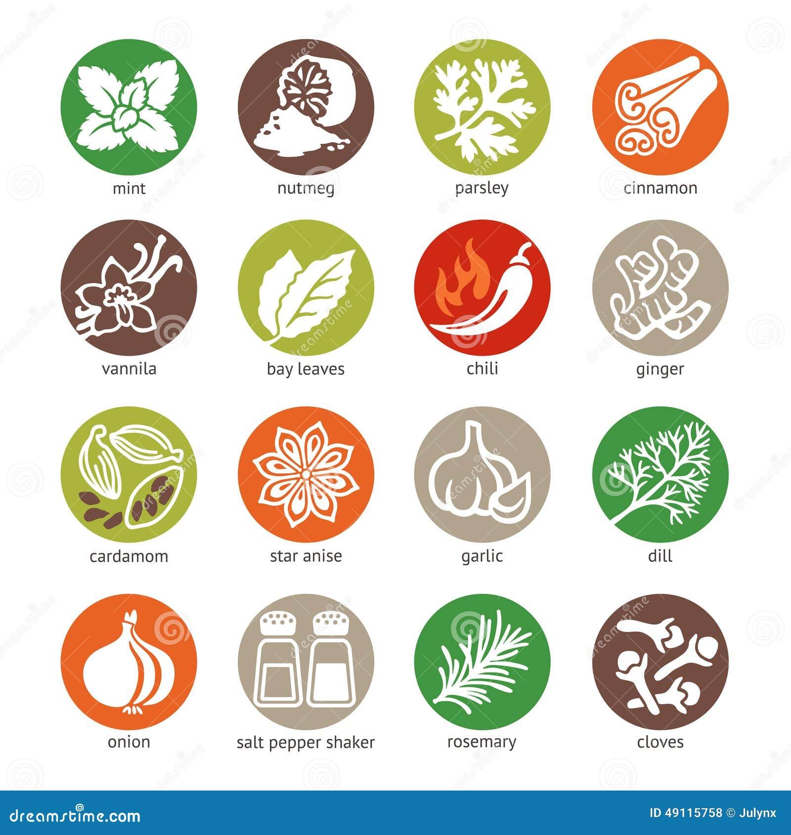 L icône de Web a placé - des épices, des condiments et des herbes