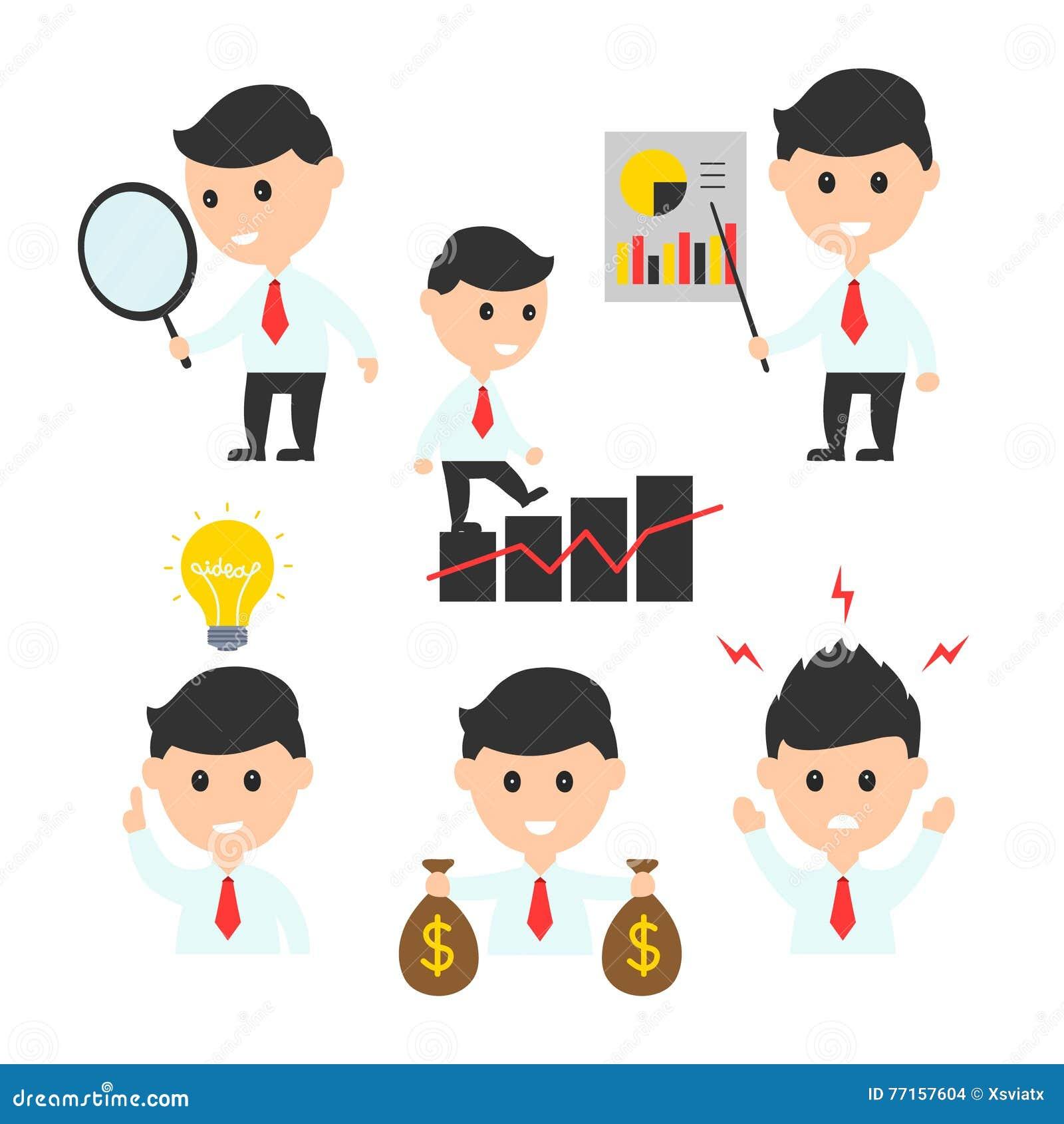 L icône plate d illustration de caractère de conception d homme d affaires a placé pour des présentations ou des sites Web