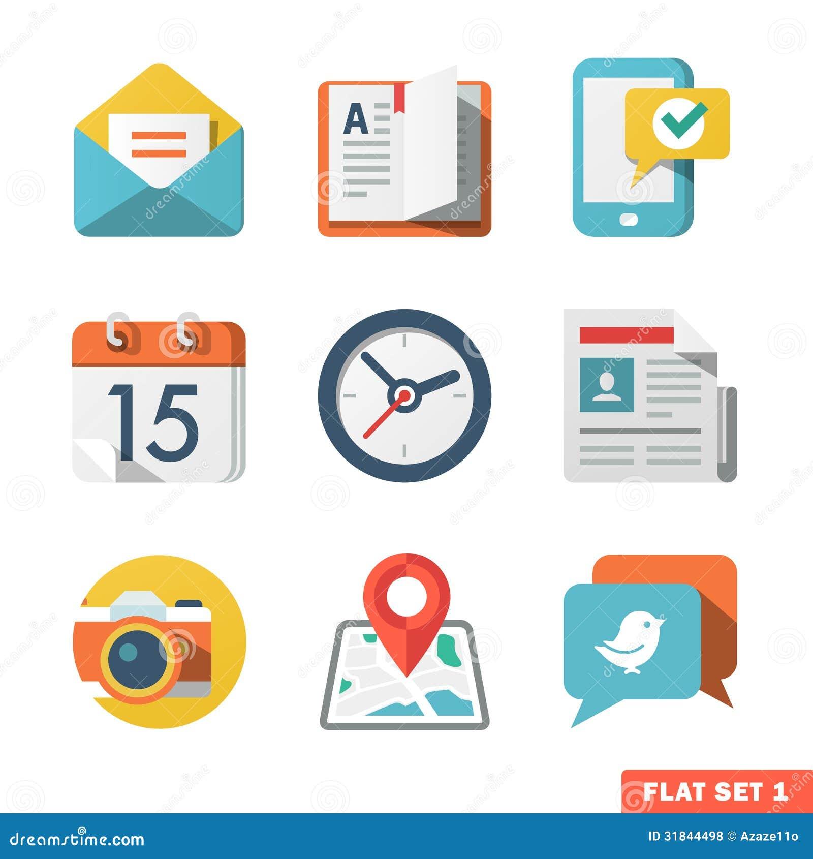 L icône plate de base a placé pour le Web et l application mobile