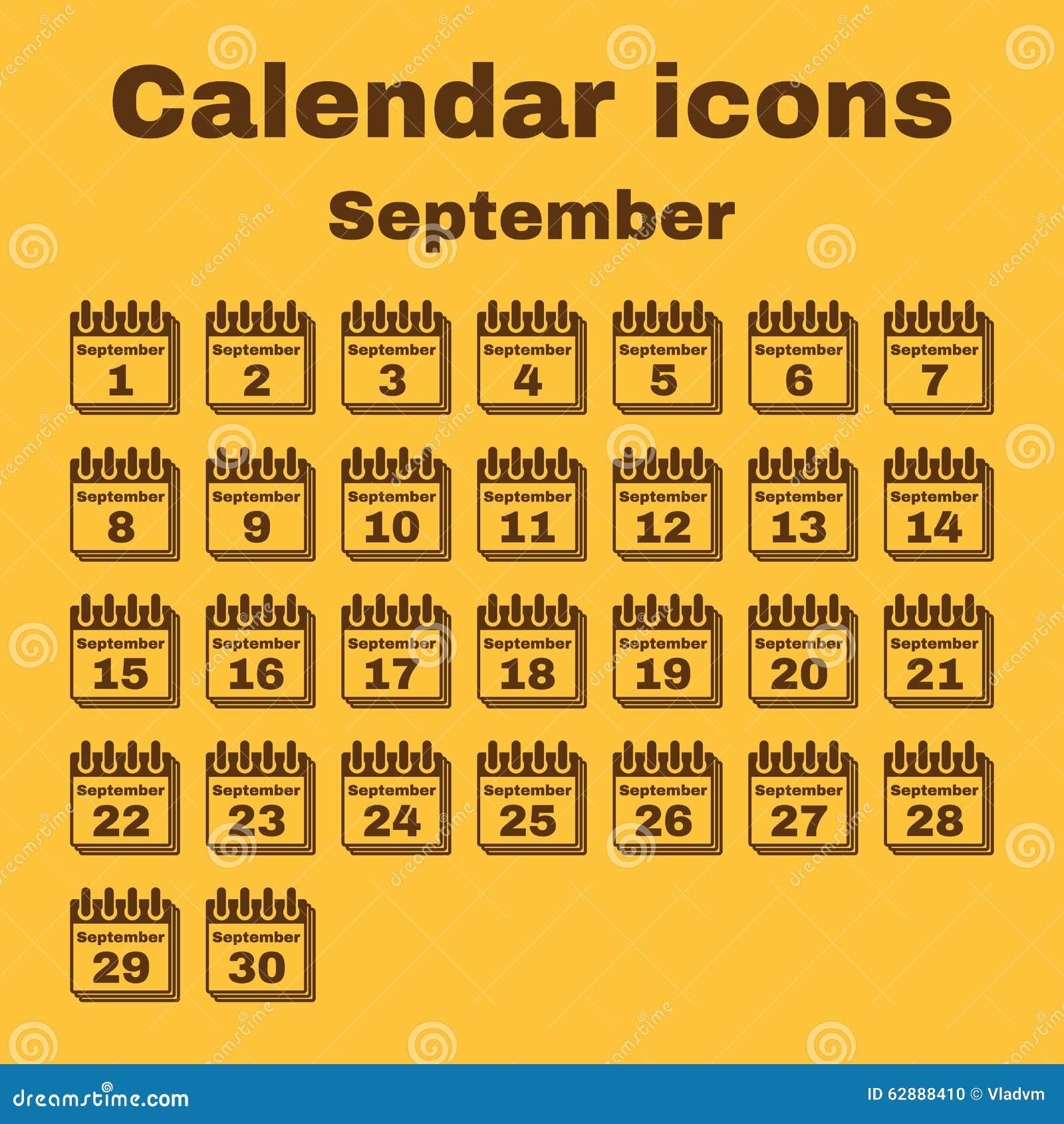 Simbolo De Calendario.L Icona Del Calendario Simbolo Di Settembre Piano