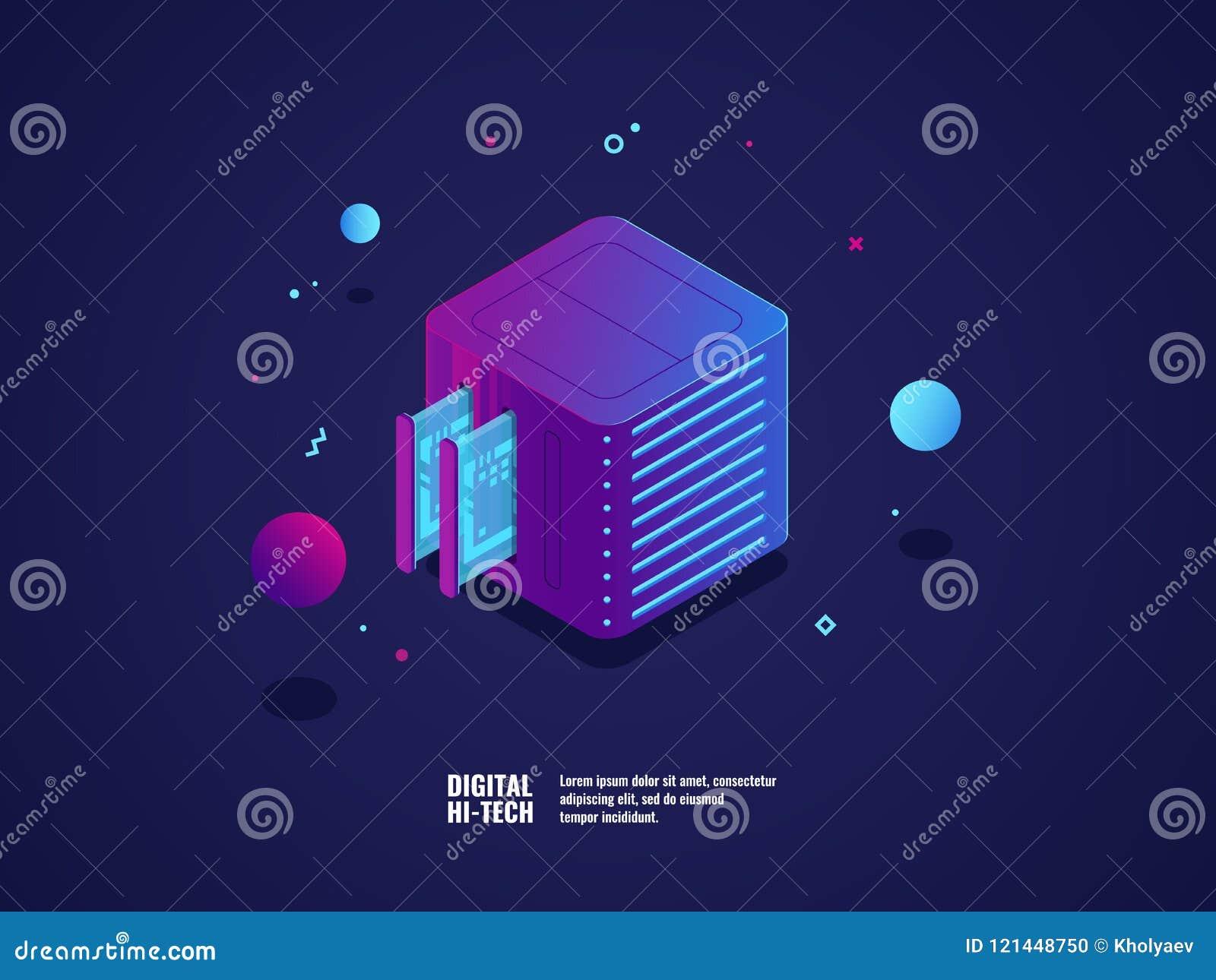 L icona della stanza di Virtual Server e di web hosting, il centro dati e la base di dati si appannano lo stoccaggio, la scanalat