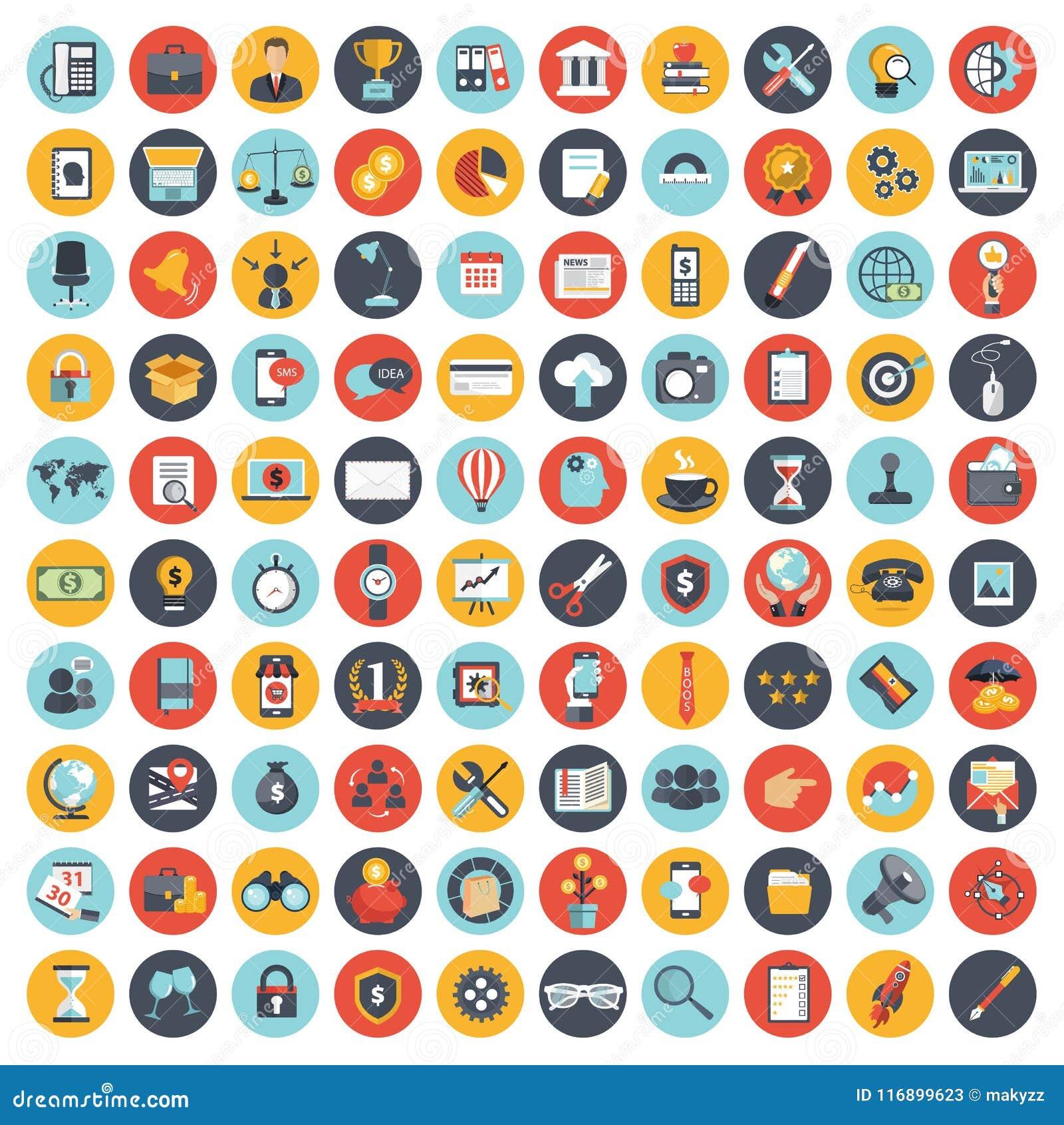 L icona di affari, della tecnologia e di finanze ha messo per i siti Web e le applicazioni e servizi del cellulare Vettore piano