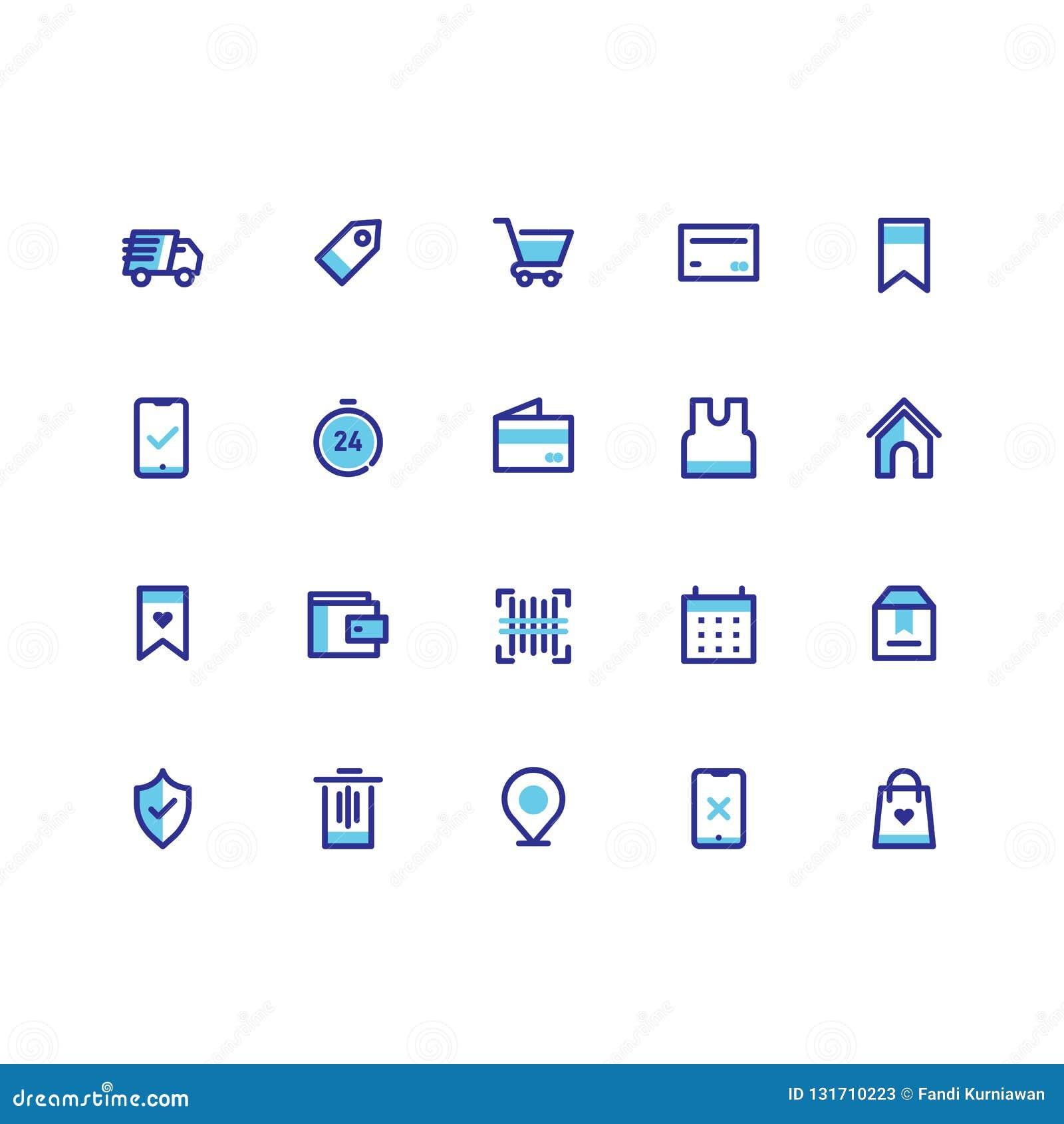 L icona di commercio elettronico mette la linea vettore del profilo