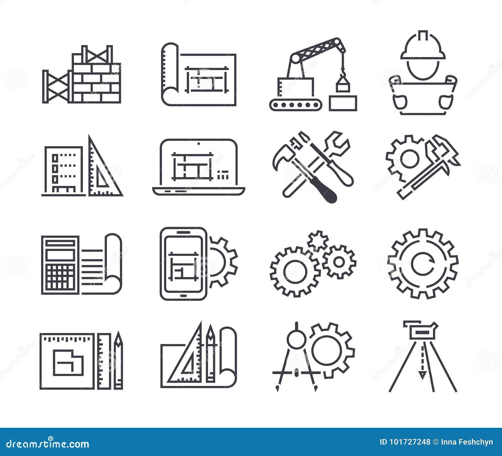 L icona di vettore di fabbricazione e di ingegneria ha messo nella linea stile sottile