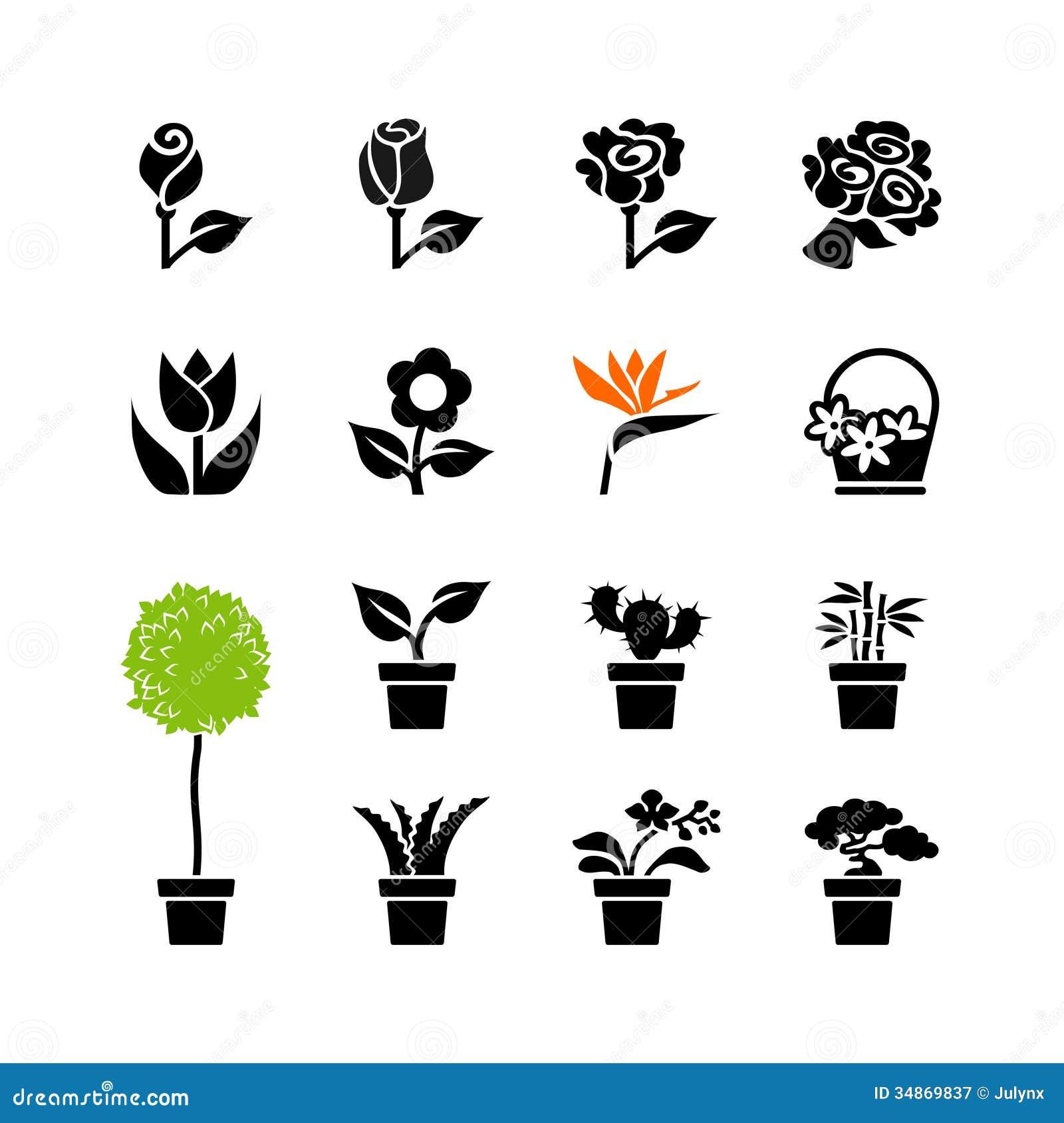Piante Bonsai Prezzi : L icona di web ha messo fiori e piante in vaso vasi